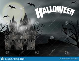 Halloween Background With Gothic Castle And Full Moon Fantasy Night Panoramic View Vector Stock Vector Illustration of invitation dark: 126264475