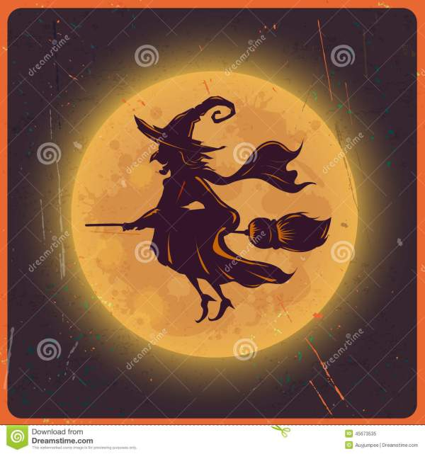 Halloween Background With Silhouette Witch Moon