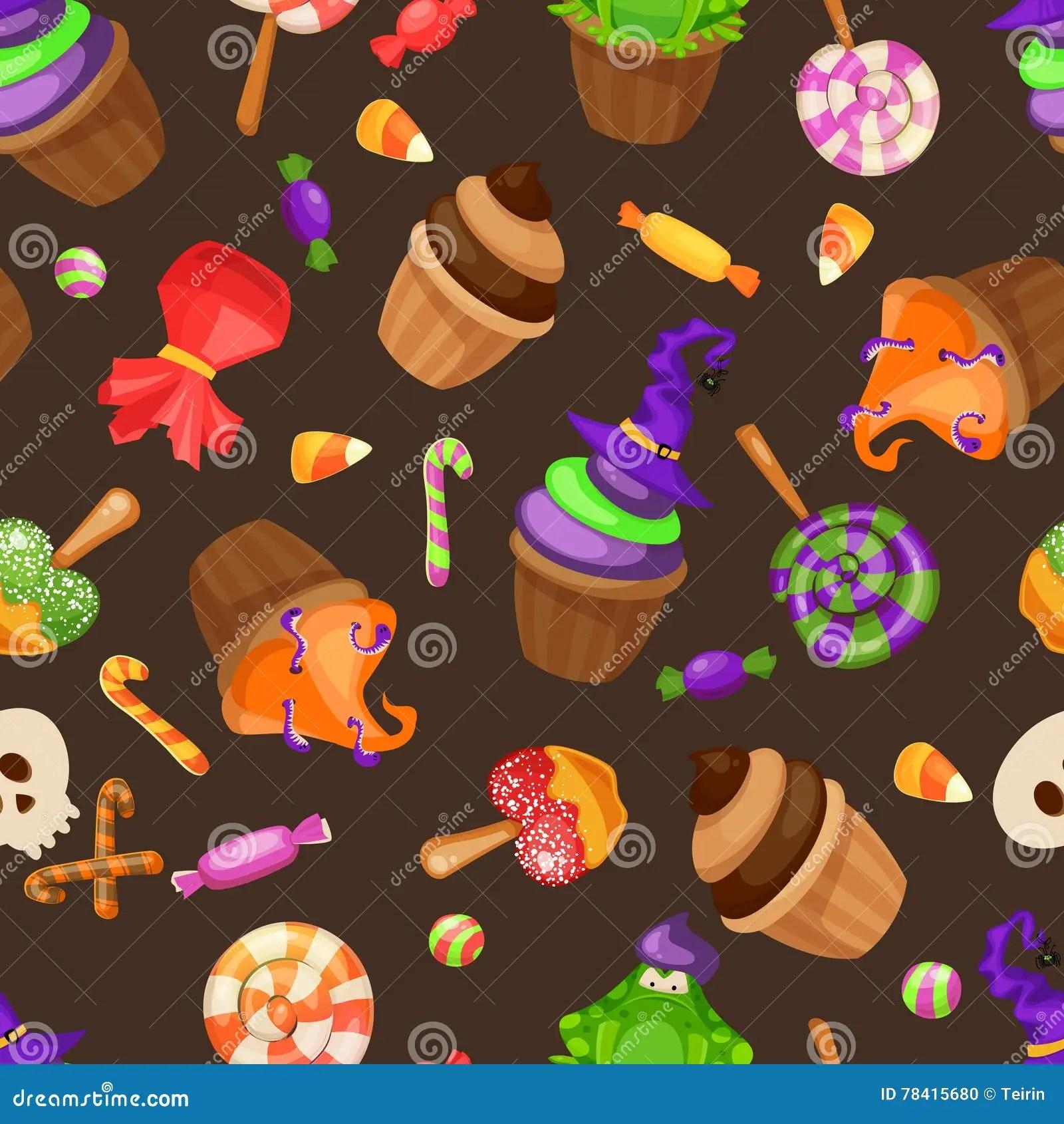 halloween candy seamless pattern
