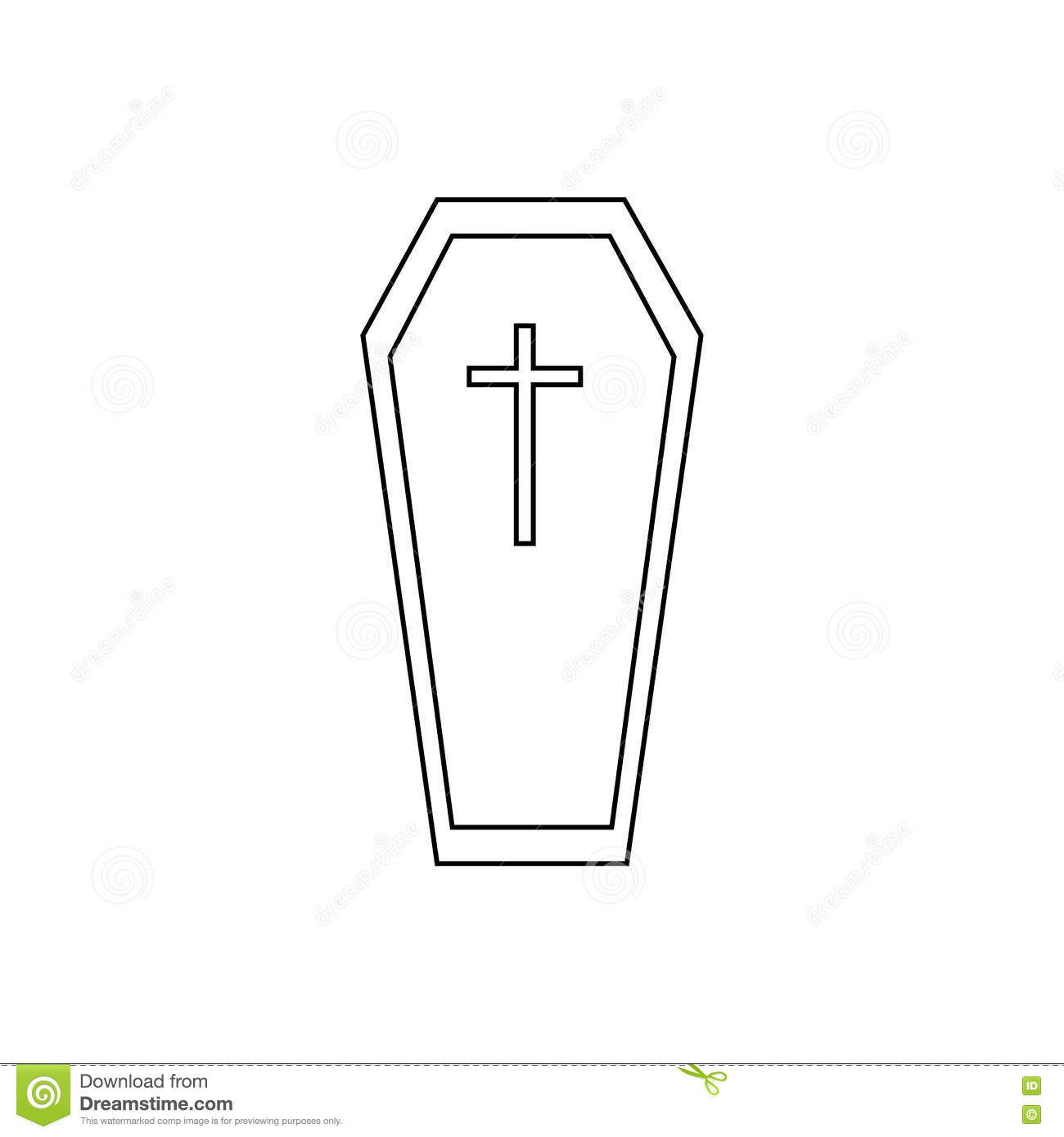 Coffin Icon, Outline Style Vector Illustration