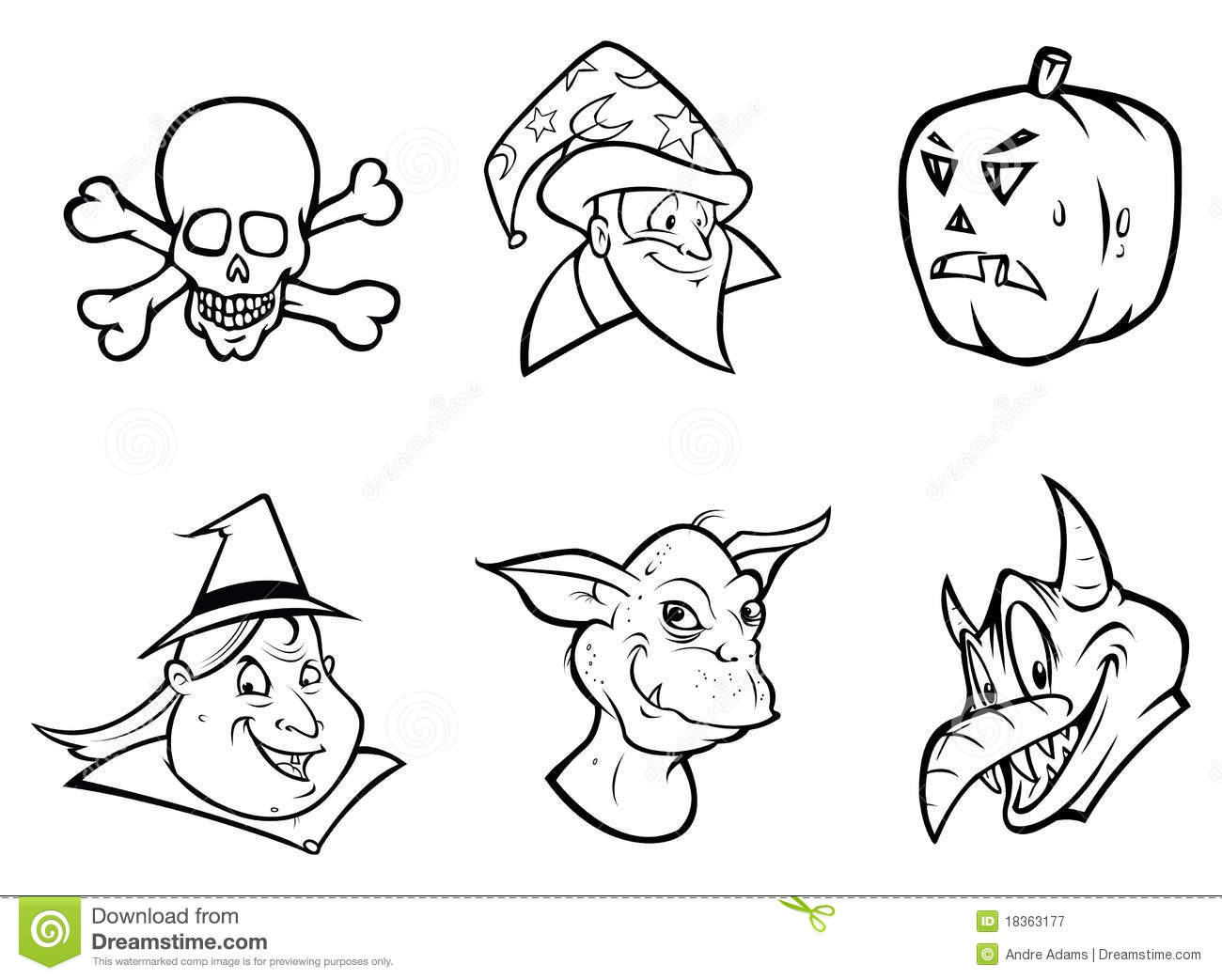 HALLOWEEN COLLECTION Outline Royalty Free Stock
