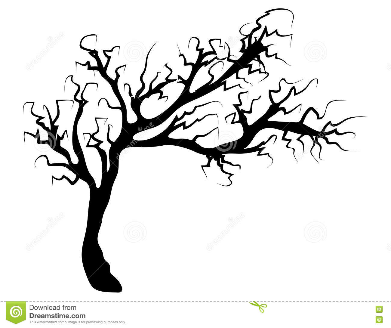 Halloween Creepy Scary Bare Tree Vector Symbol Icon Design