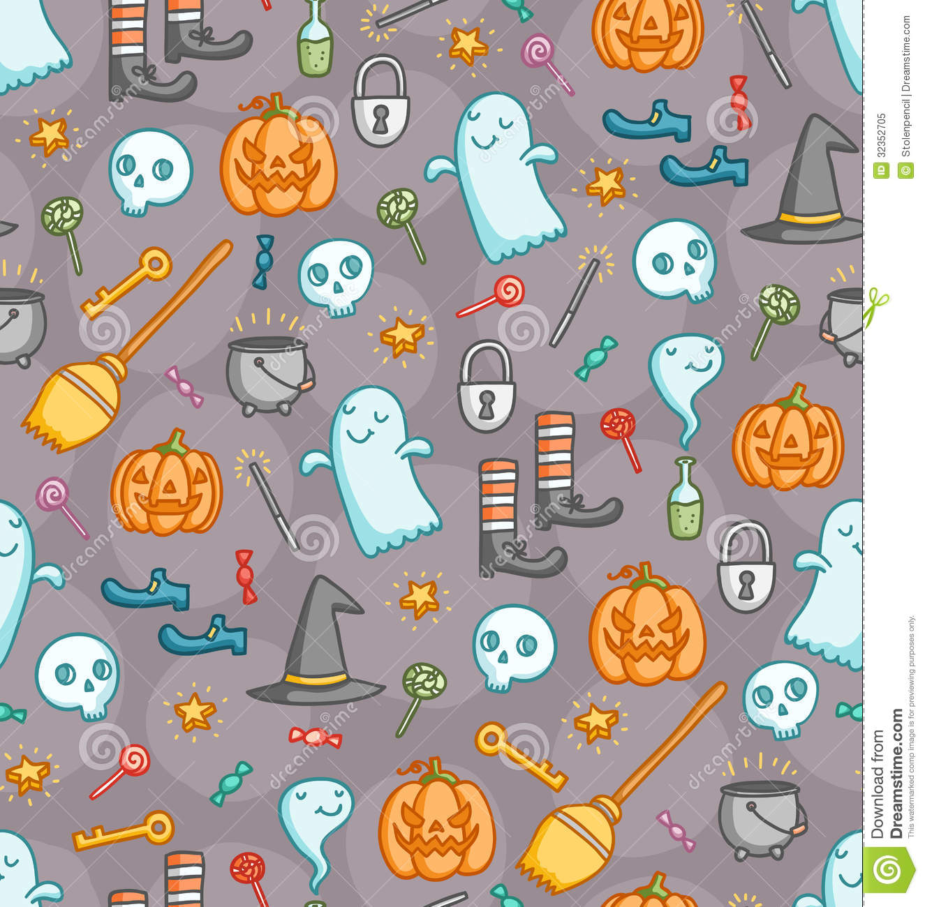 Fall Witch Wallpaper Halloween Doodle Seamless Pattern In Color Royalty Free
