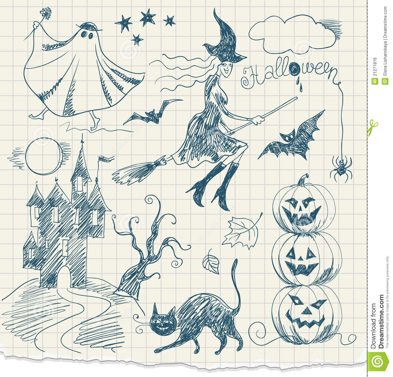Halloween Black Cat Wallpaper Halloween Doodles Royalty Free Stock Image Image 21271816