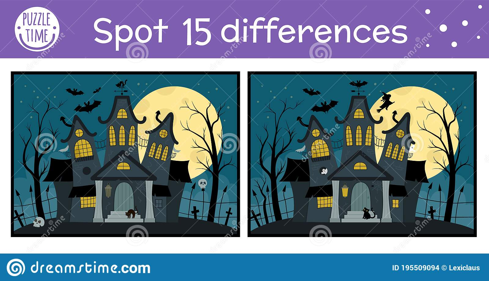 Halloween Find Differences Game For Children Autumn