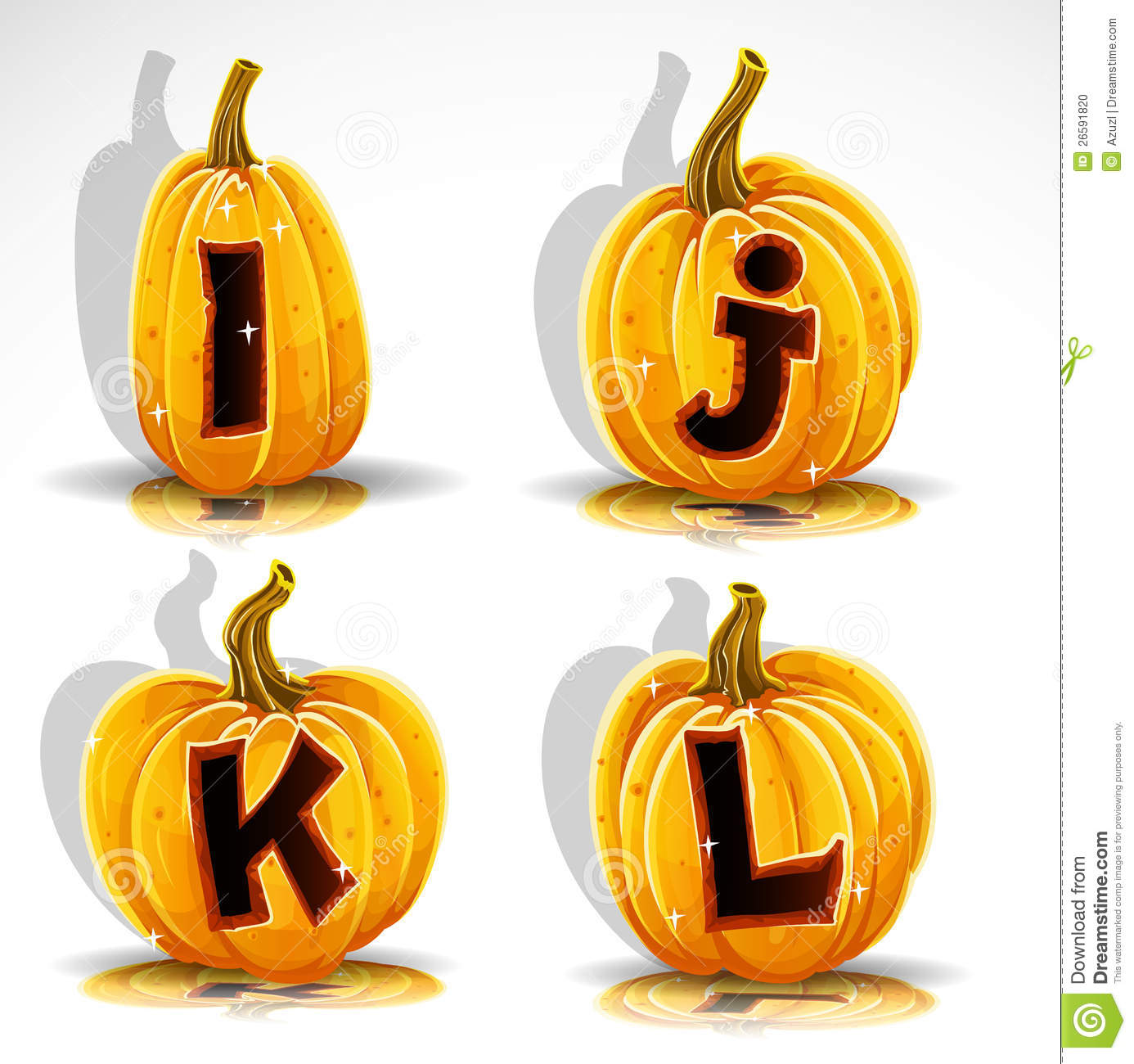 Halloween Font Cut Out Pumpkin Letter I J K L Stock Vector