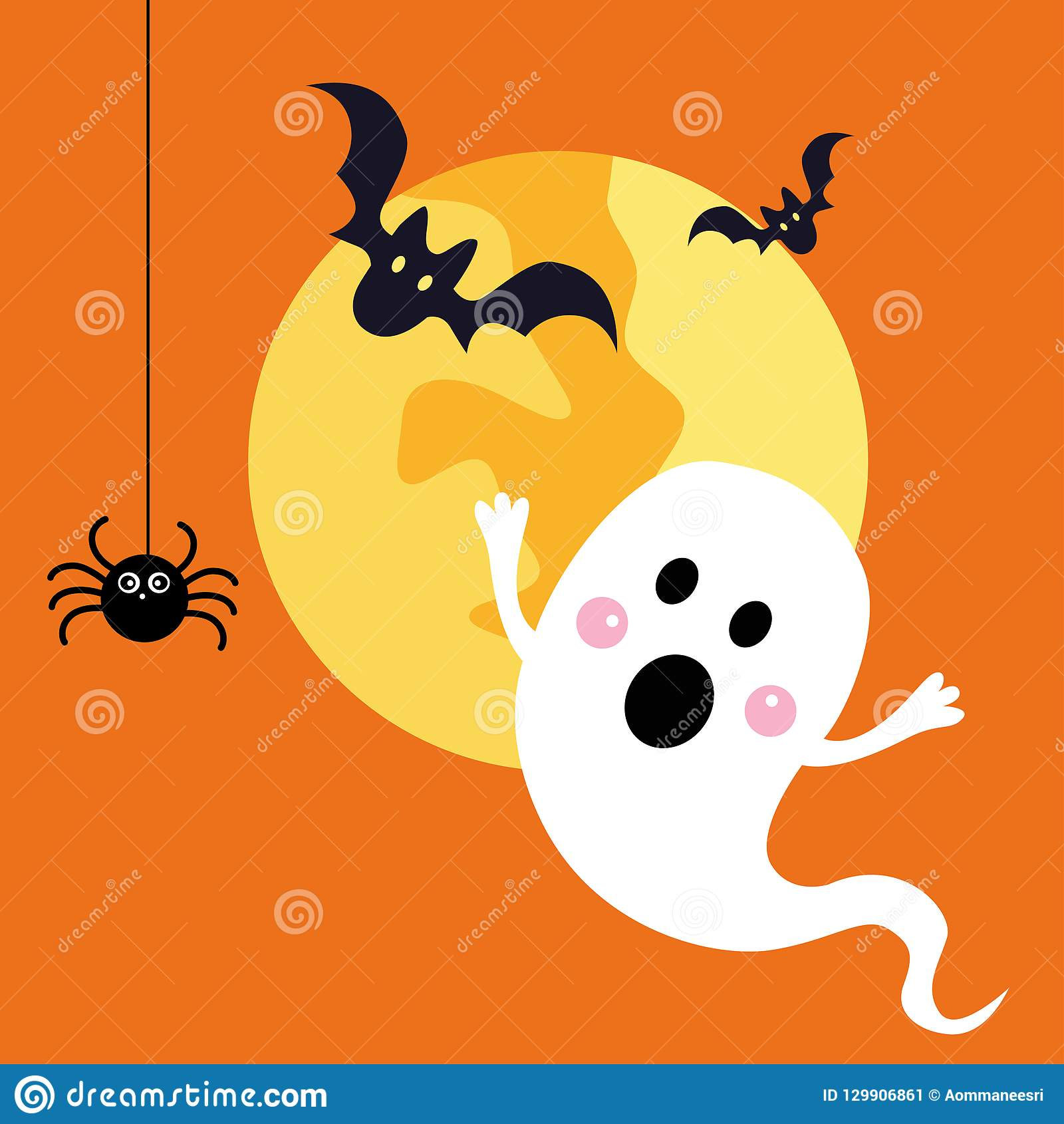 halloween ghost with black