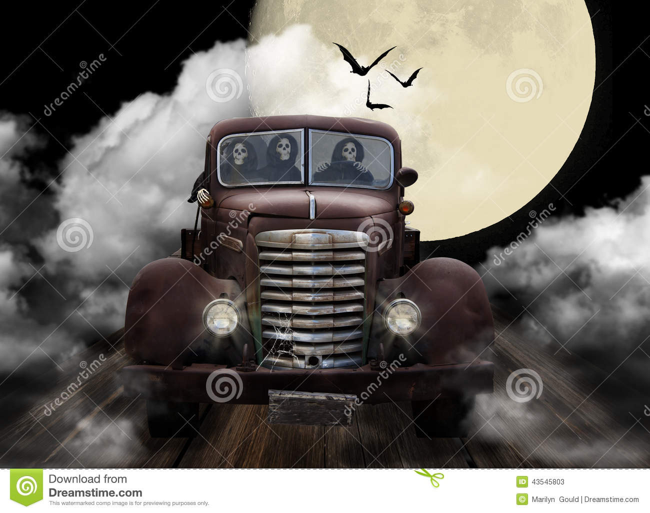 Fall Witch Wallpaper Halloween Ghouls Joyriding In Truck Stock Photo Image