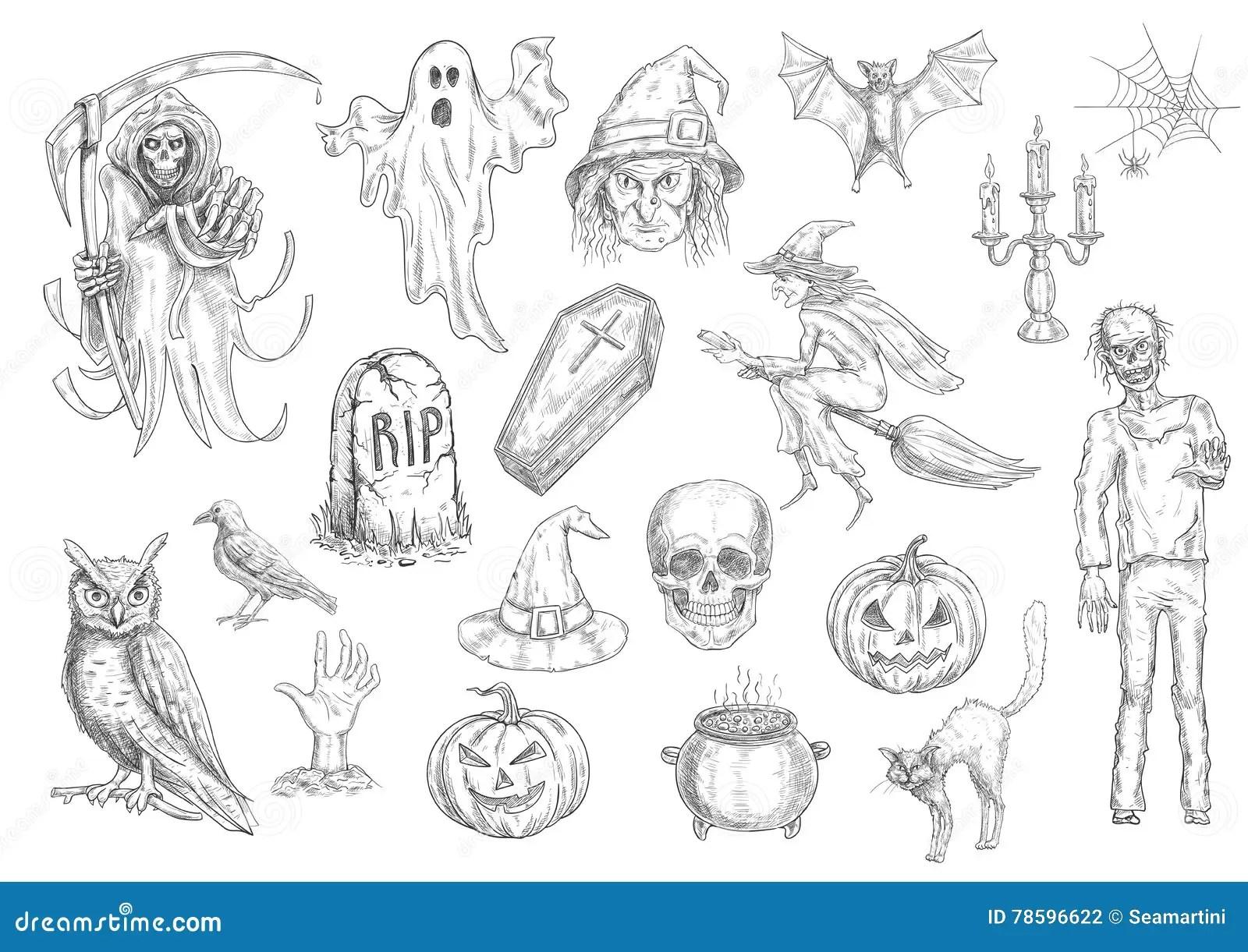 Halloween Holiday Creepy And Horror Sketch Symbols Stock