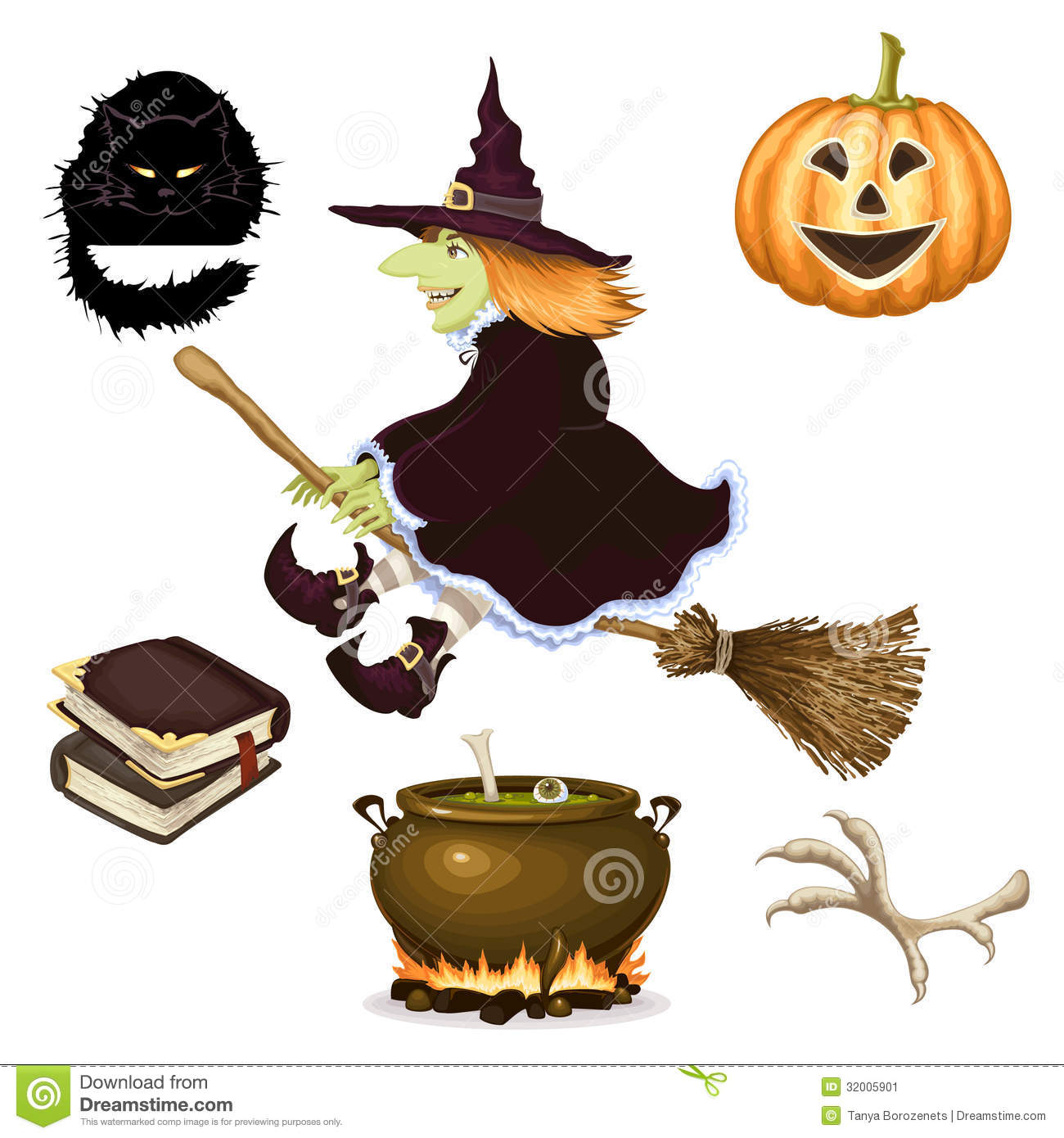 hight resolution of halloween icon set of witch clipart