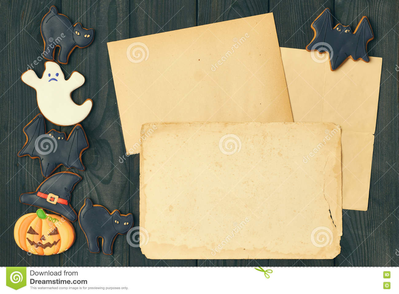 halloween invitation over wooden background stock photo image of paper cake 76792436