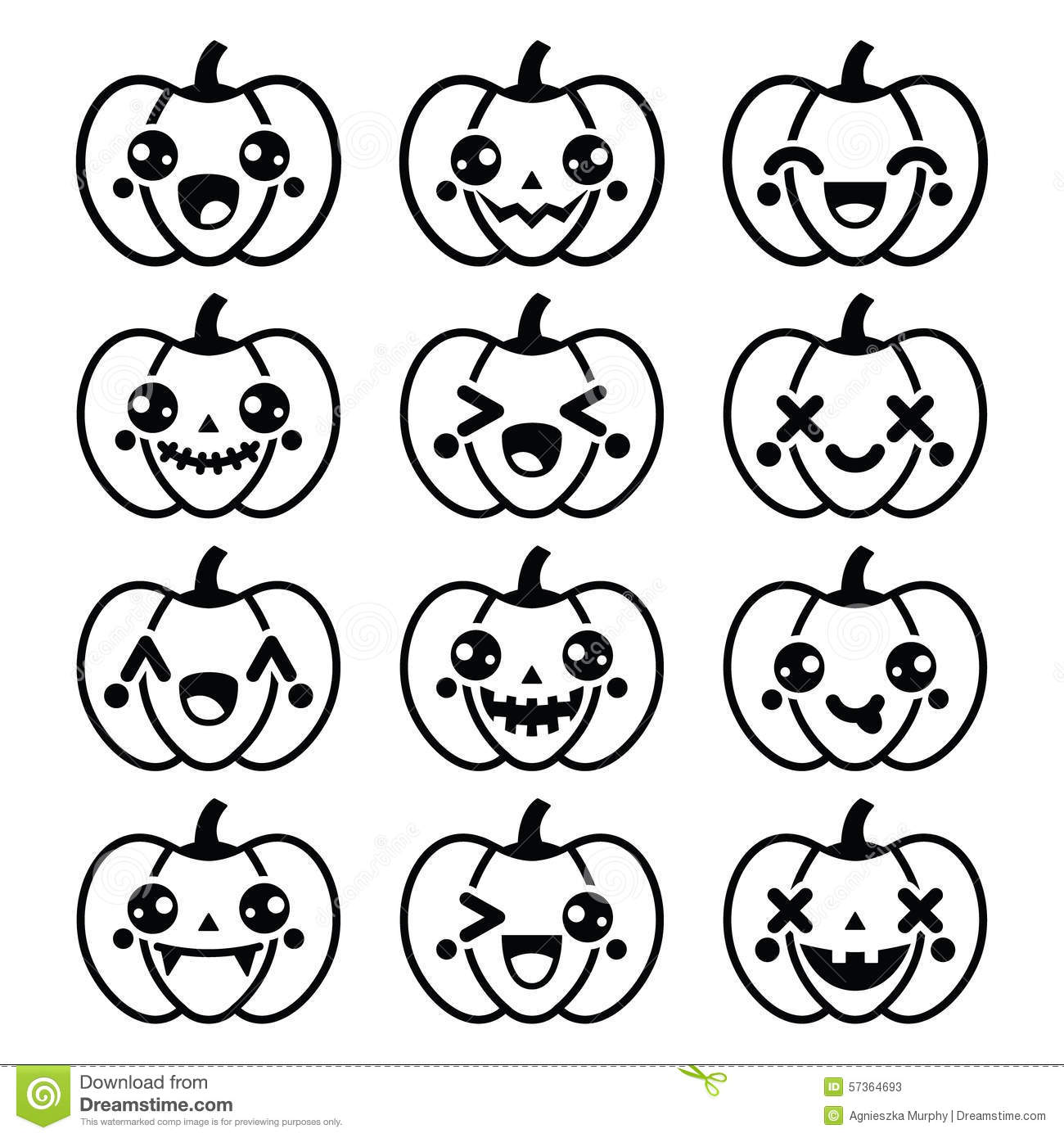 Halloween Kawaii Cute Black Pumpkin Icons