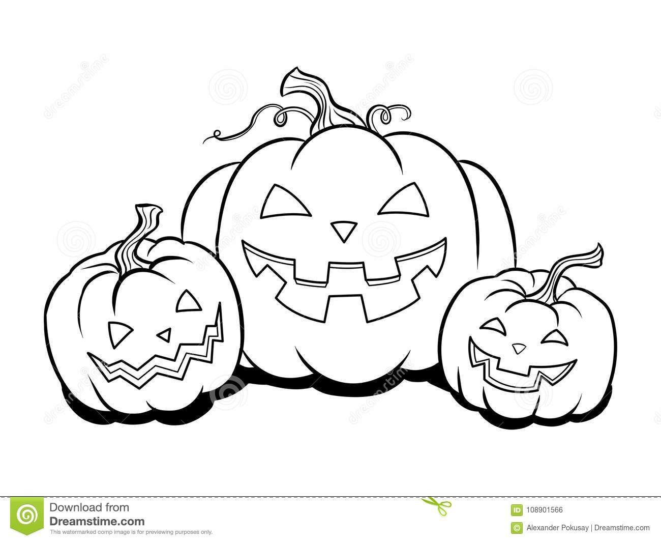 Halloween Pumpkin Coloring Book Vector Stock Vector