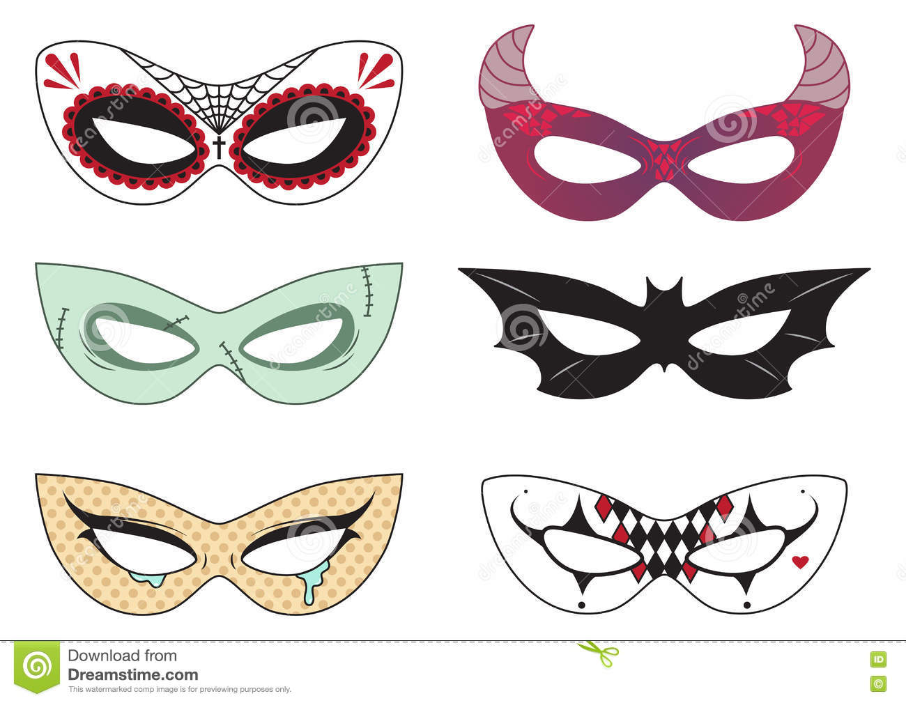 halloween masks stock vector
