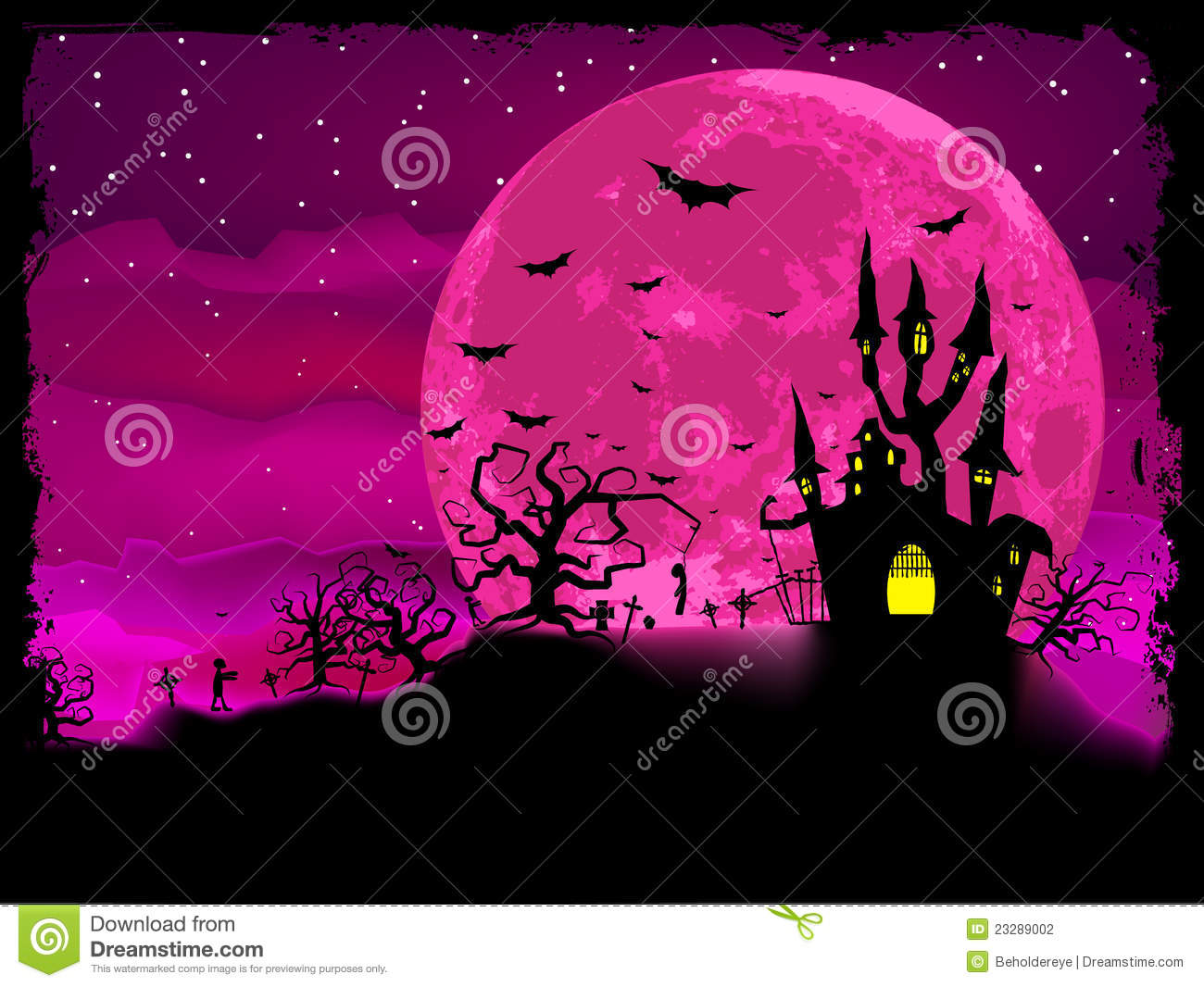 Hello Kitty Fall Wallpaper Halloween Poster With Zombie Background Eps 8 Stock