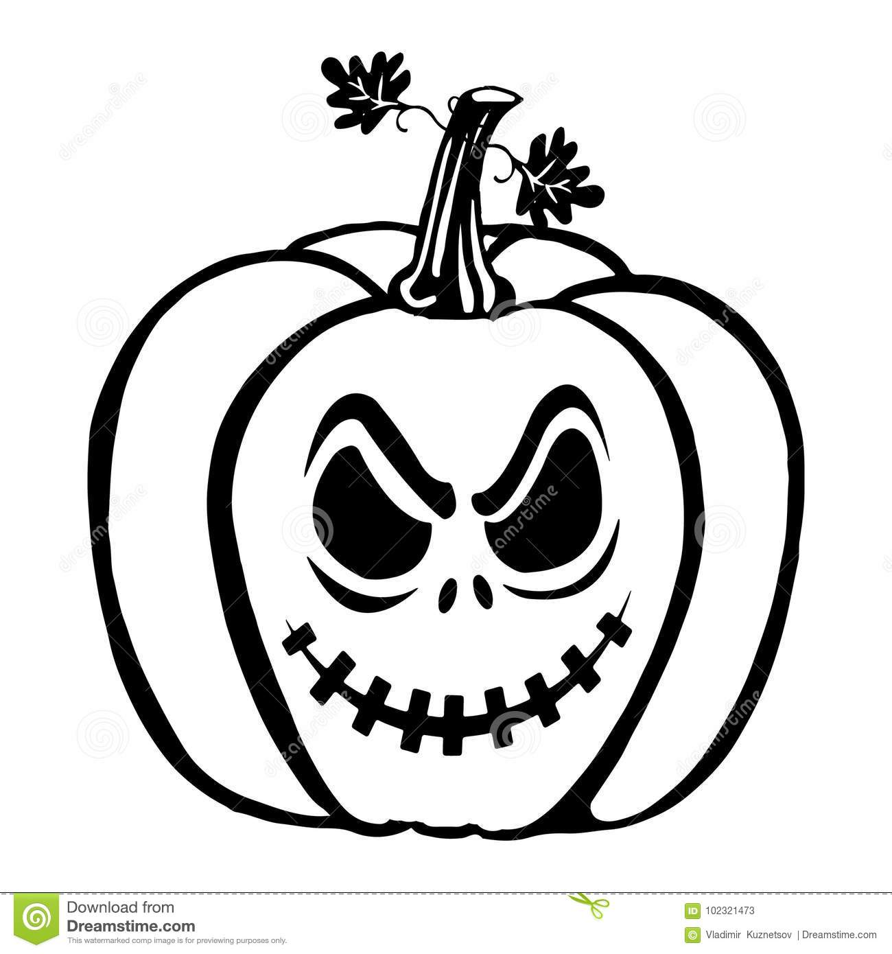 Halloween Pumpkin Silhouette Drawing On White Background
