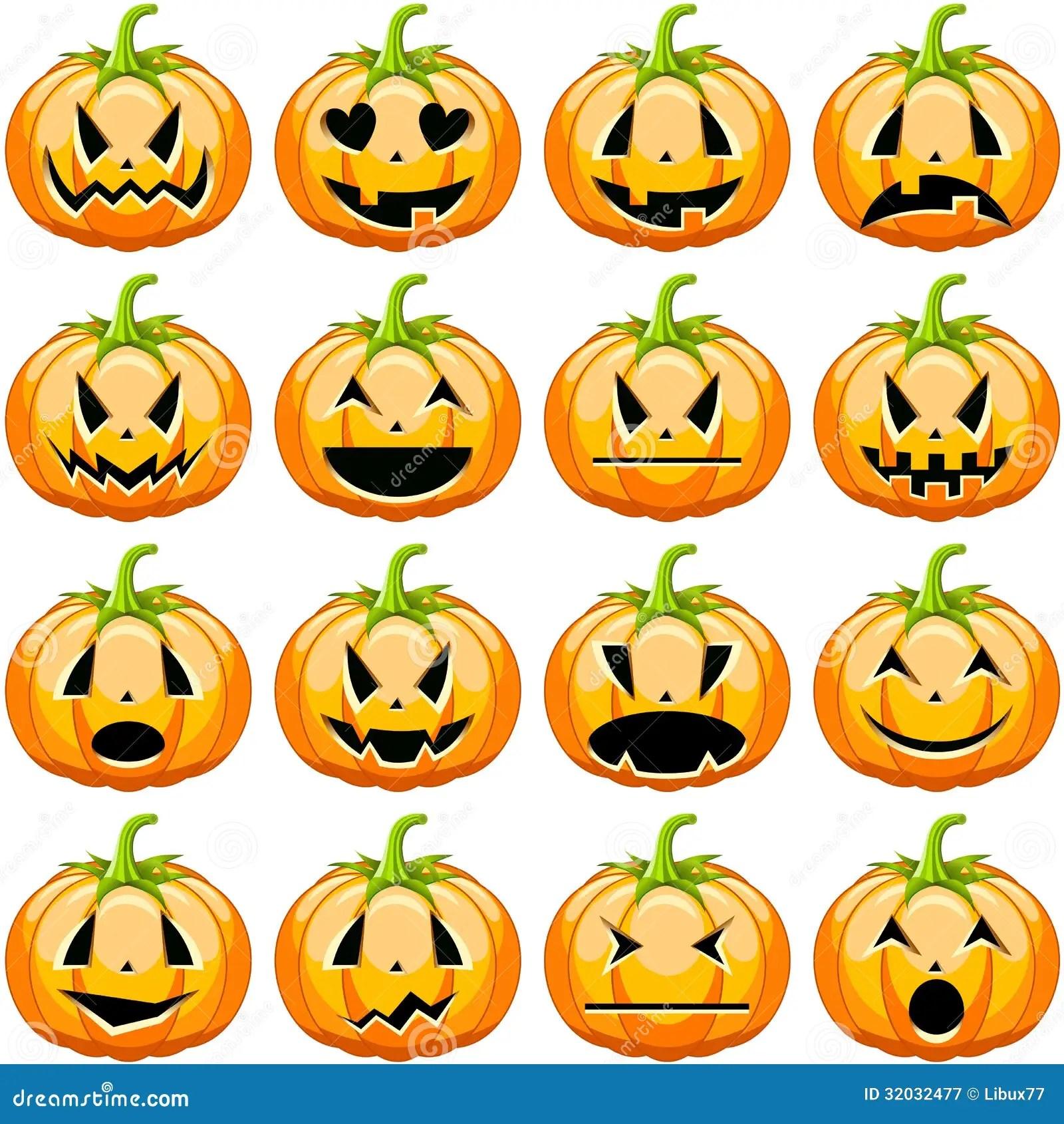 Halloween Pumpkins Set Royalty Free Stock Photography
