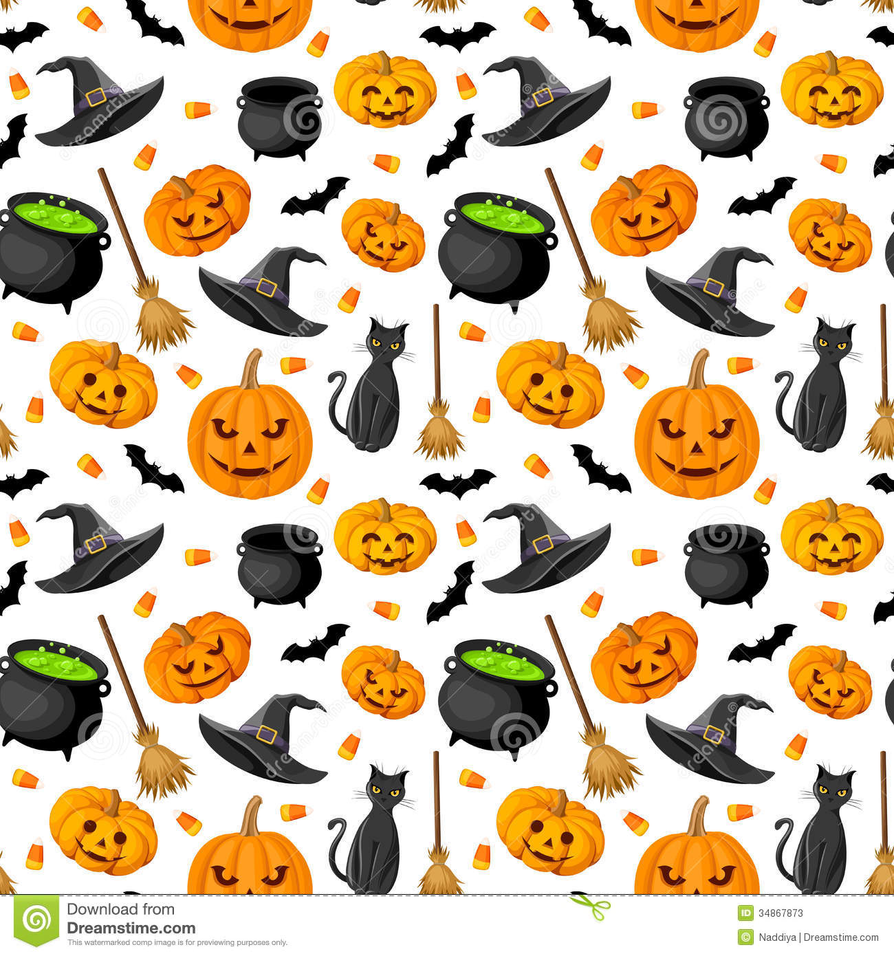Witches Fall Wallpapers Halloween Seamless Background Stock Vector Illustration