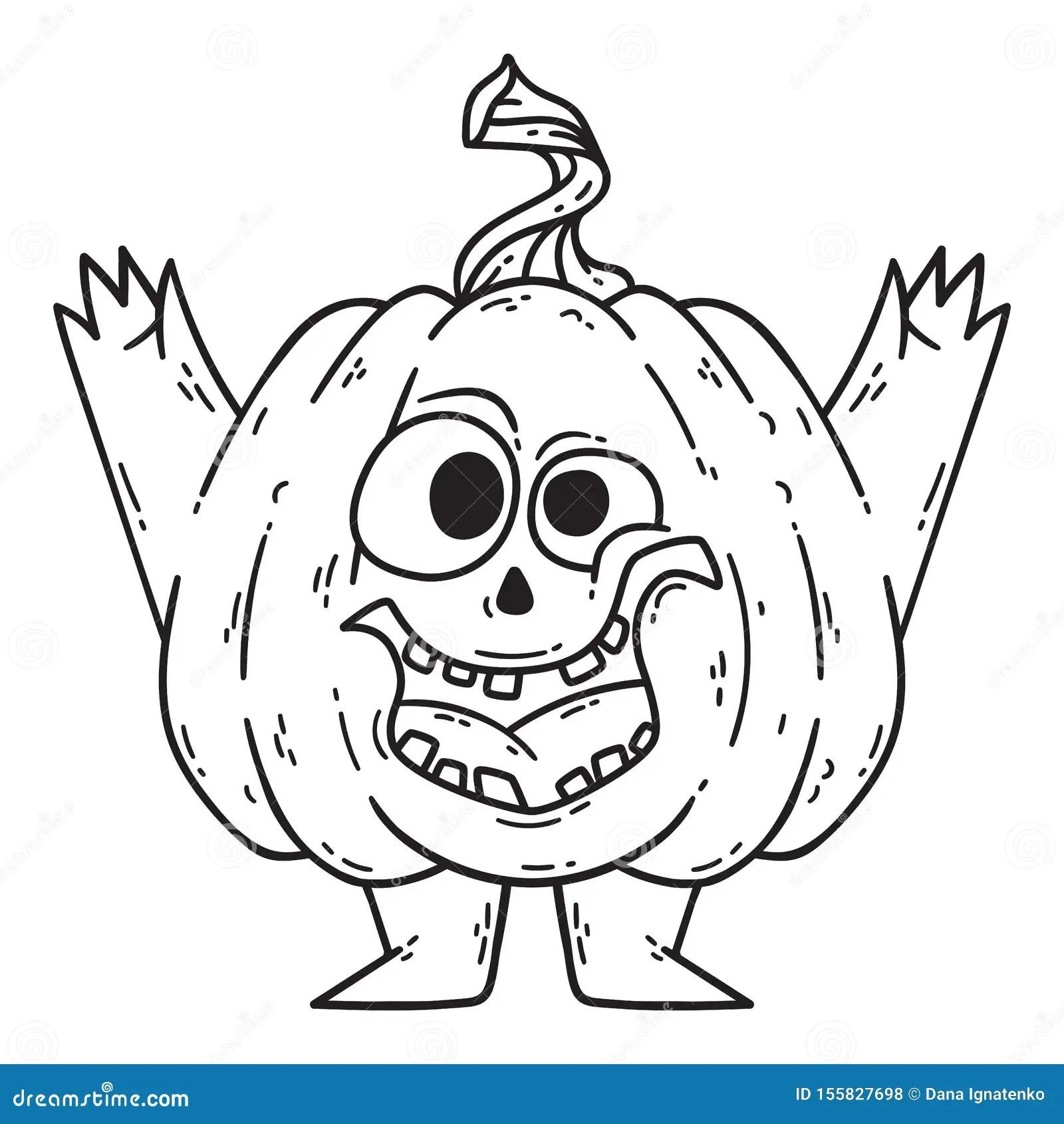 Halloween Smiling Pumpkin With Hands And Legs Stock Vector