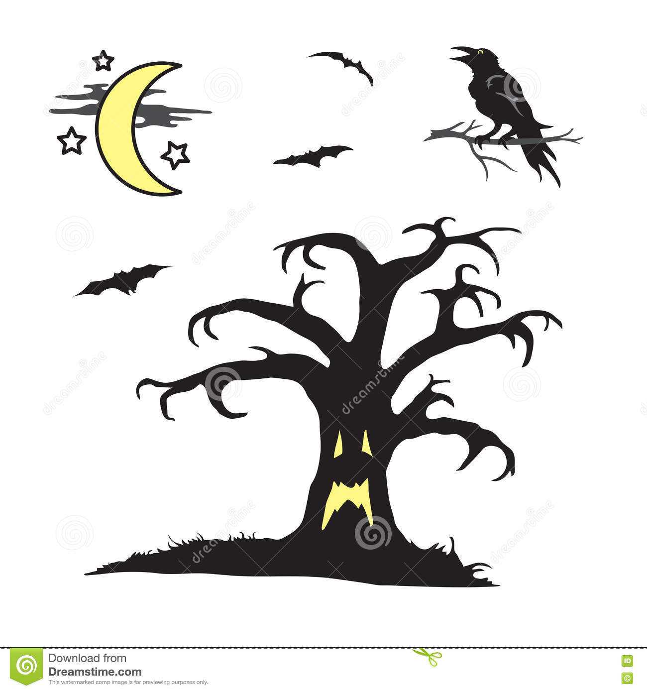 Halloween Spooky Tree With Face Scene Stock Vector