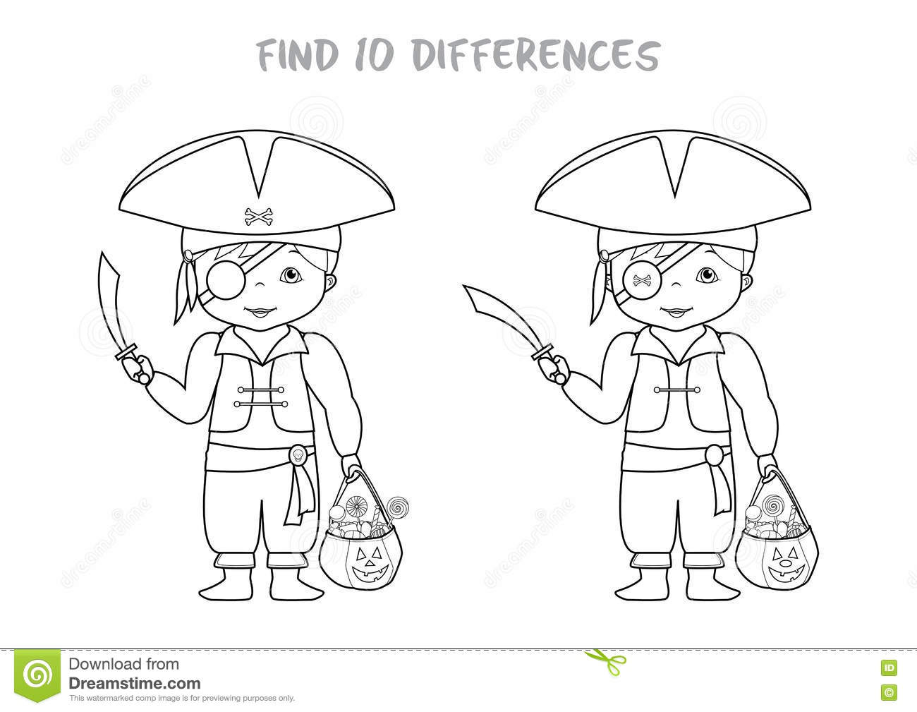 Halloween Spot The Difference Game For Kids Stock Vector