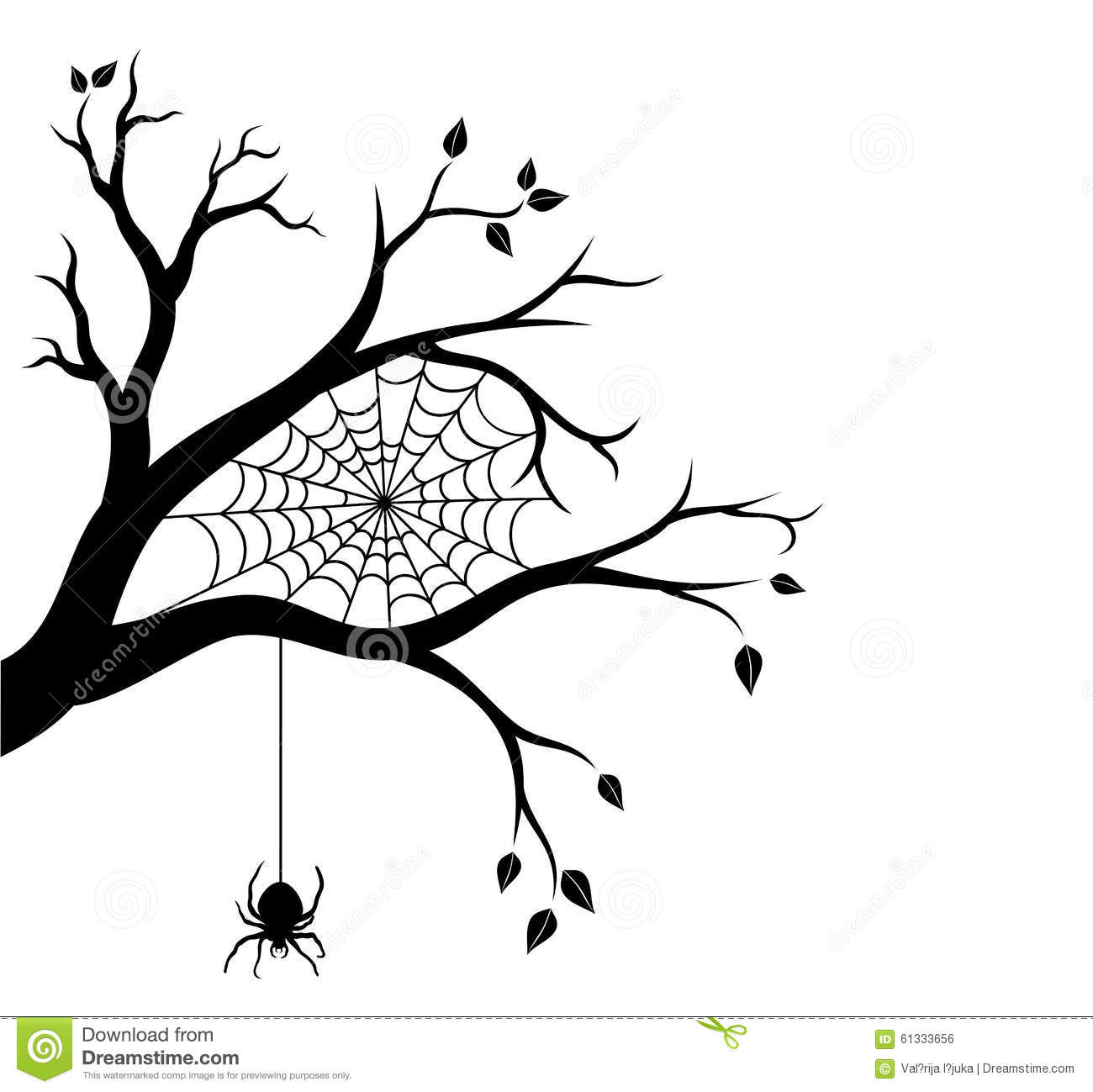 Halloween Tree Branch And Spider Web Stock Vector