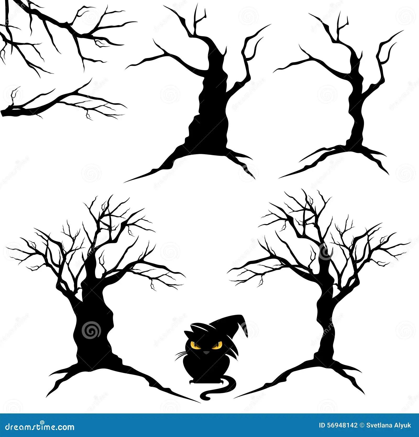 Halloween Trees Set Stock Vector Illustration Of Horror