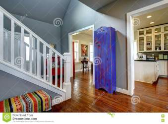 Hallway Interior In American House Hardwood Floor And Blue Cabinet Stock Photo Image of light project: 74360870