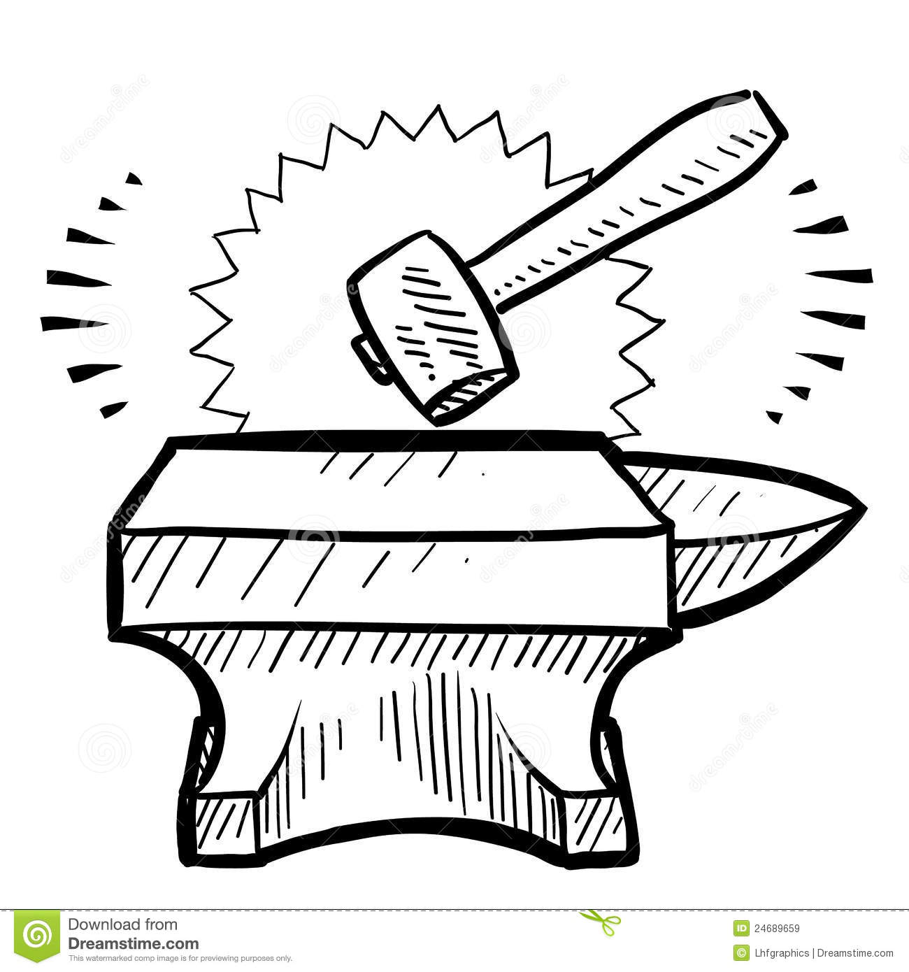 Hammer And Anvil Vector Royalty Free Stock Images