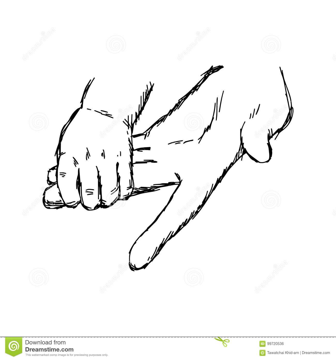 Hand Of Baby And Mother Holding Vector Illustration Sketch