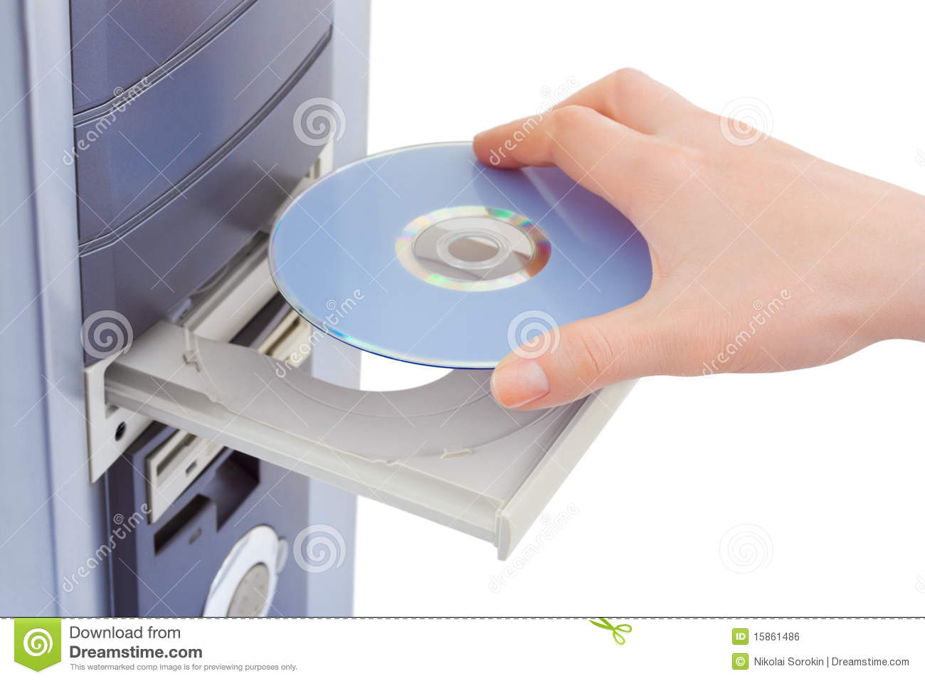 Hand And Computer Cd Rom Stock Photo Image Of Data