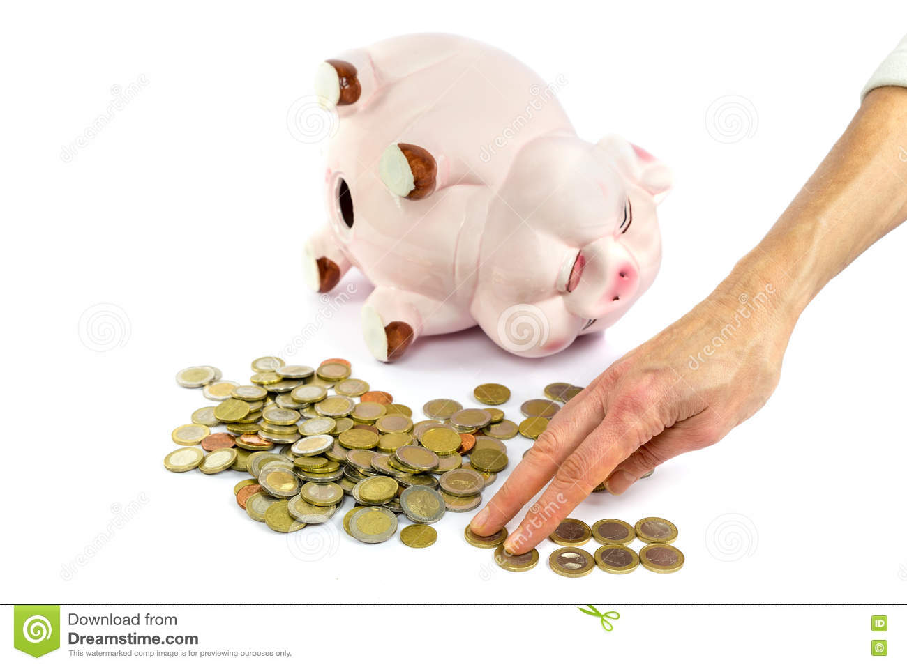 Hand Counting Euro Coins From Piggy Bank Stock Image