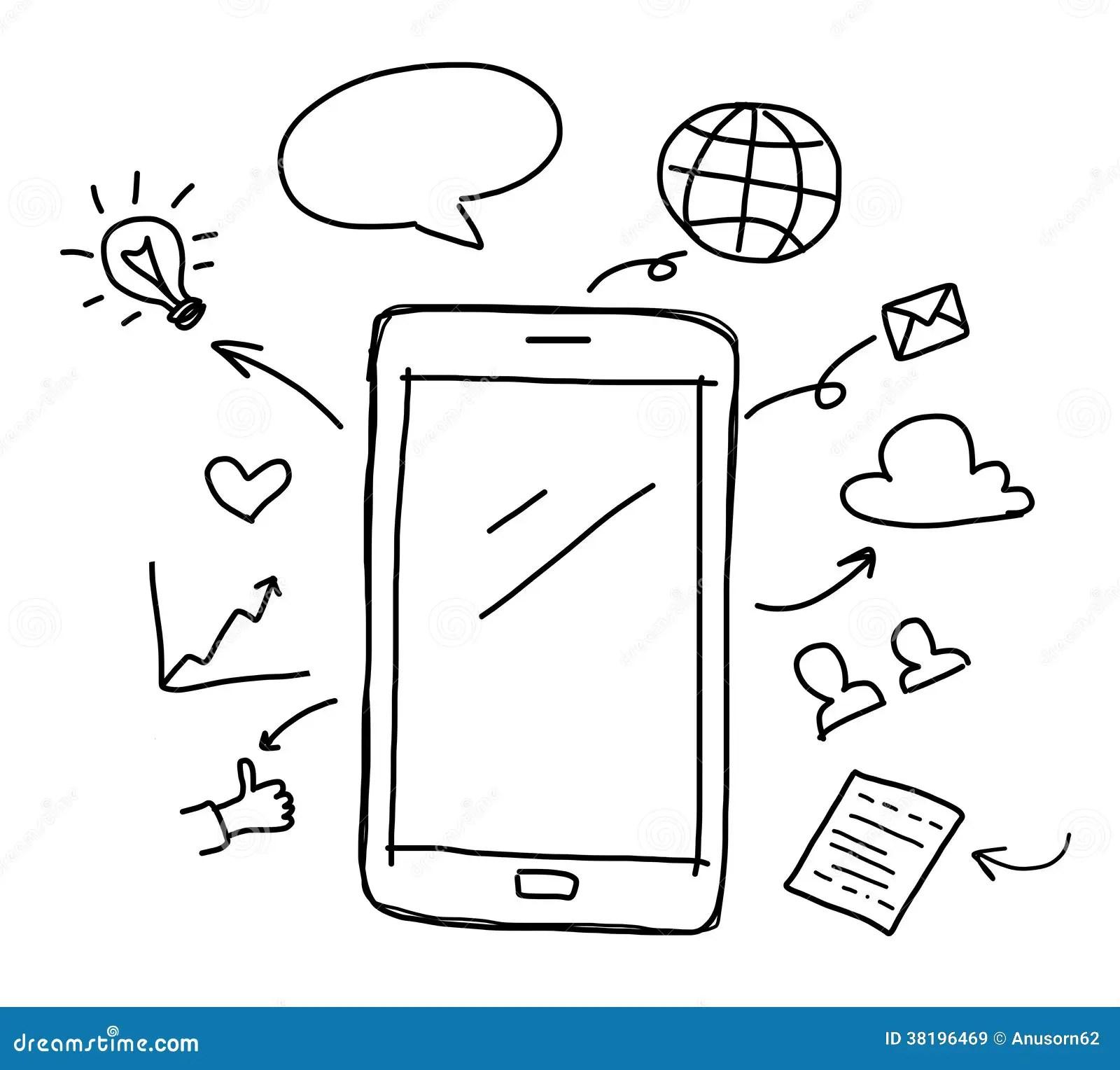 Hand Intelligentes Telefon Mit Social Media Zeichnet