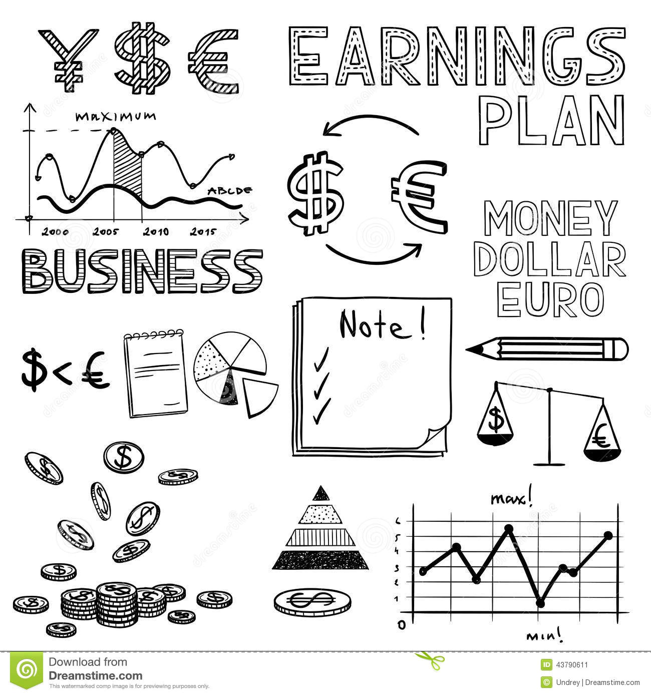 Hand Draw Business Finance Doodle Sketch Money Stock