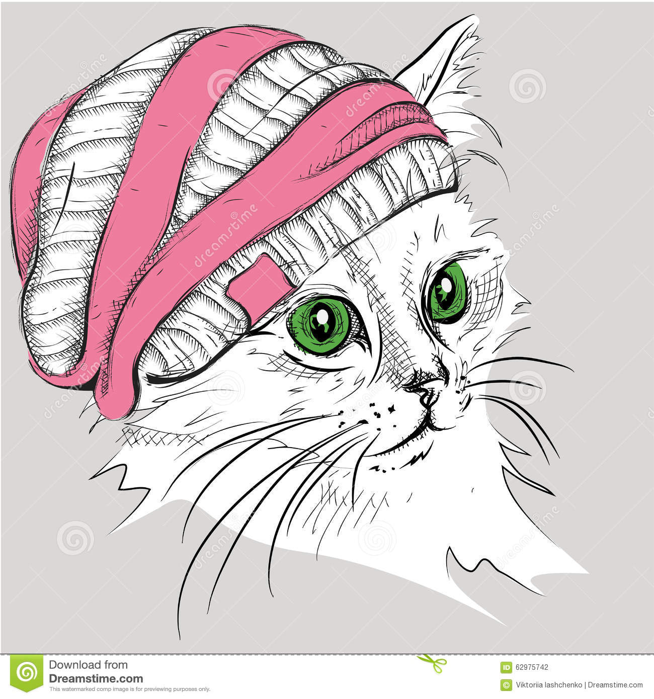 Hand Draw Cat In A Hat Vector Illustration Stock Vector Illustration Of Animal Vintage 62975742