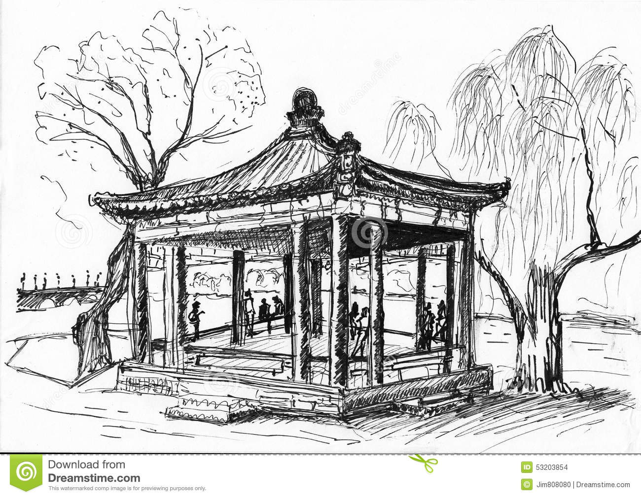 Hand Draw Chinese Building Stock Illustration