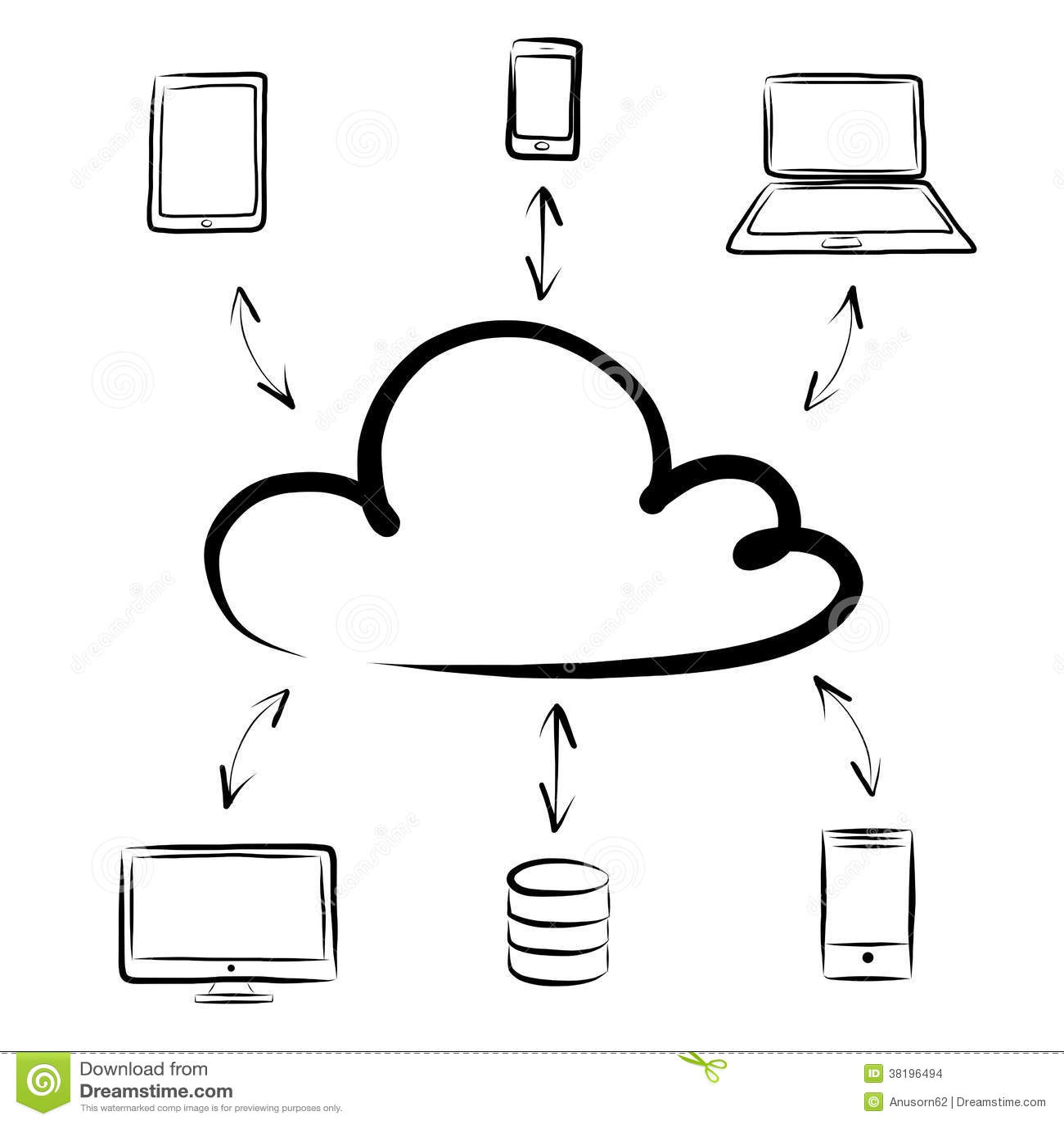 Hand Draw Cloud Computing Diagram Stock Illustration