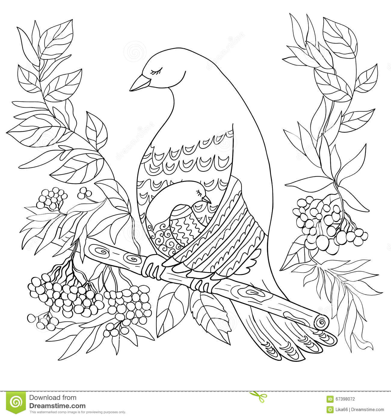 Hand Draw Coloring Illustration Anti Stress Coloring Page