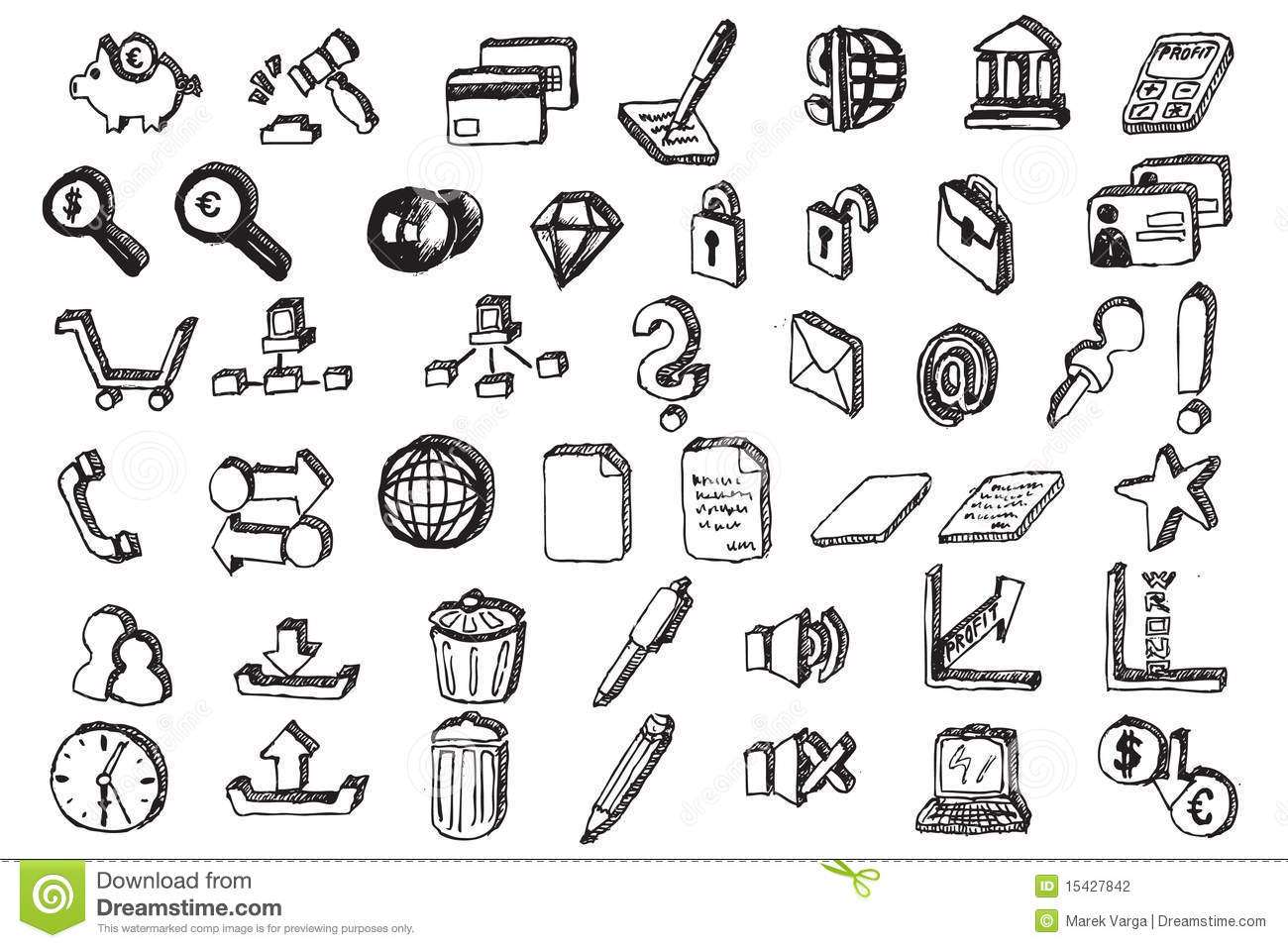 Hand Draw Communication Elements Stock Vector