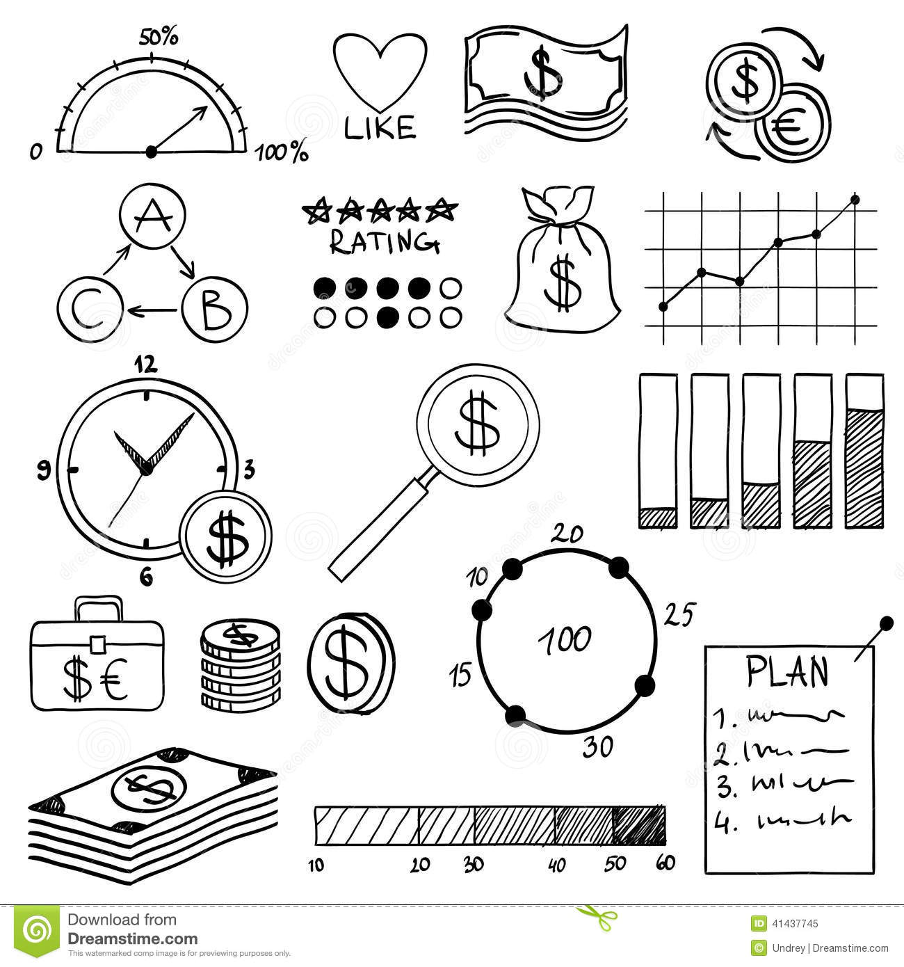 Hand Draw Doodle Elements Money And Coin Icon Stock Photo