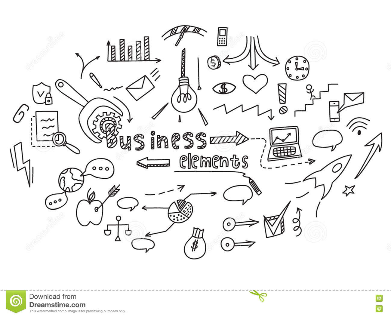 Hand Draw Finance And Money Doodle Sketch Business Vector
