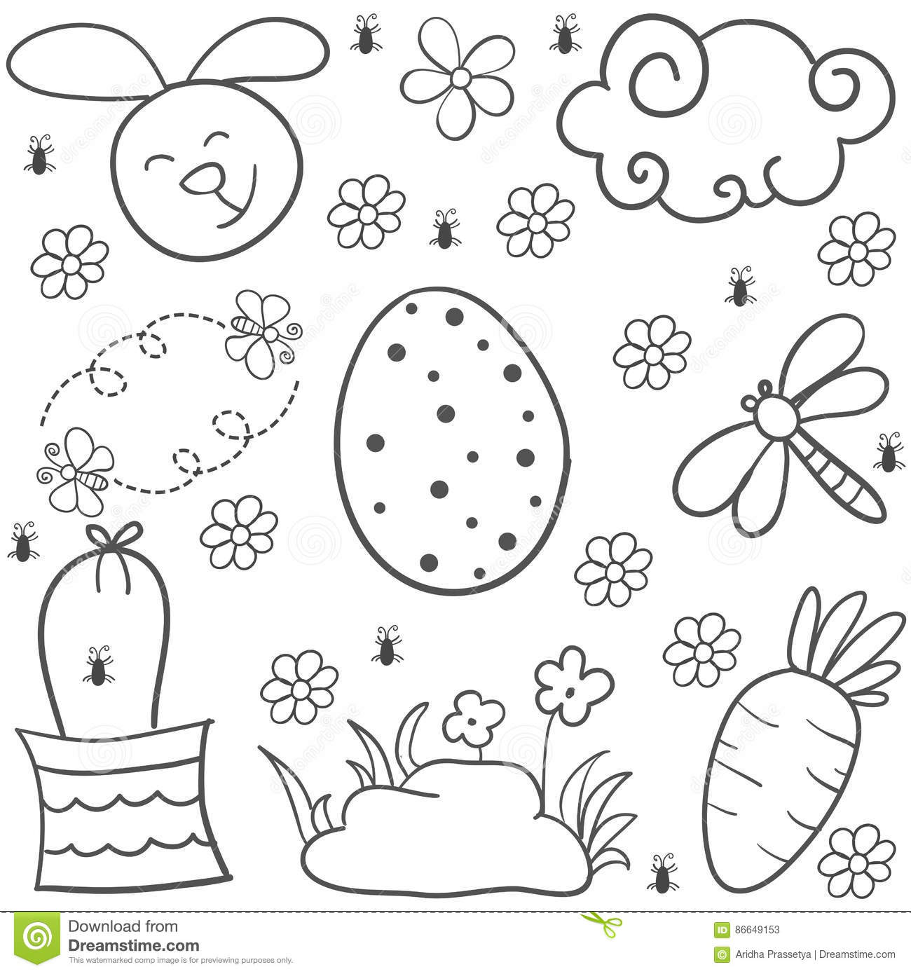Hand Draw Of Easter Egg Doodles Stock Vector