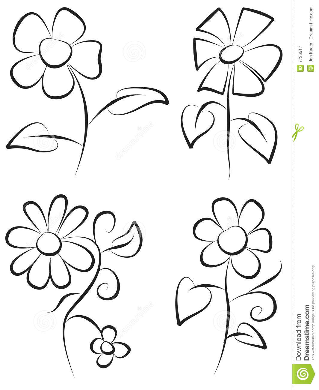 Hand Draw Flowers Stock Vector Illustration Of Form Draw