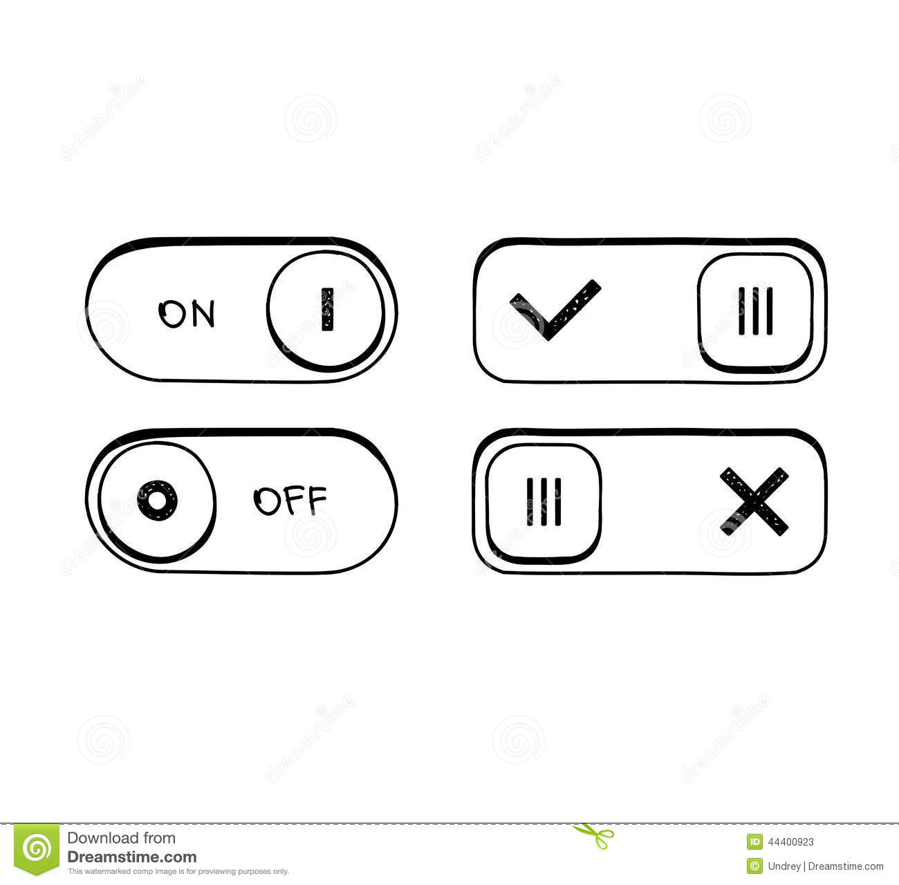 Hand Draw Goodle Sketch Toggle Switch On And Off Stock Vector