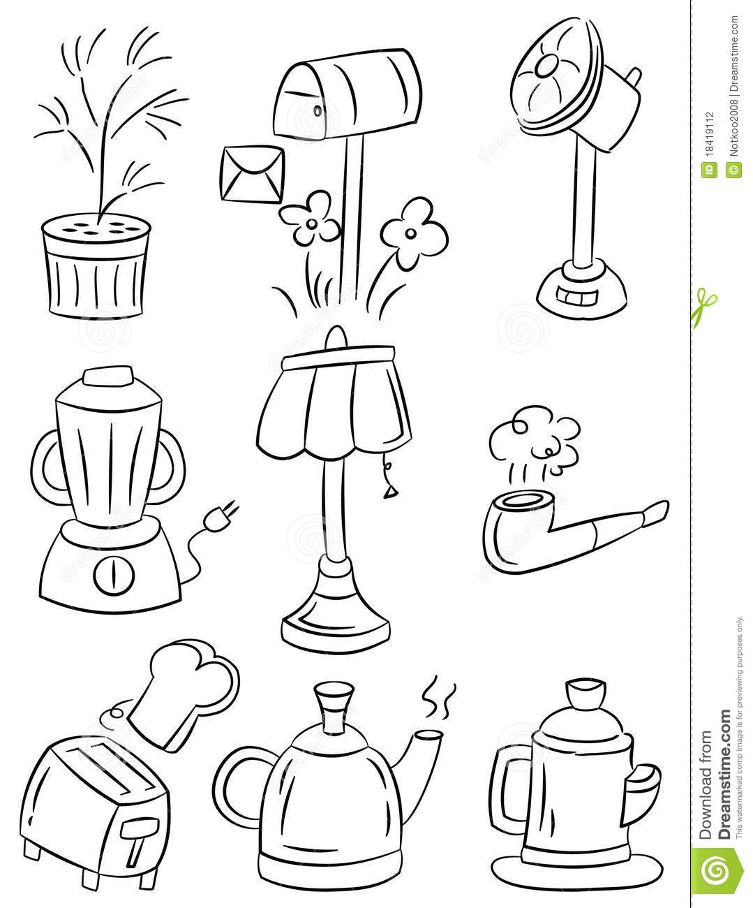 Hand Draw Home Appliances Cartoon Icon Stock Vector