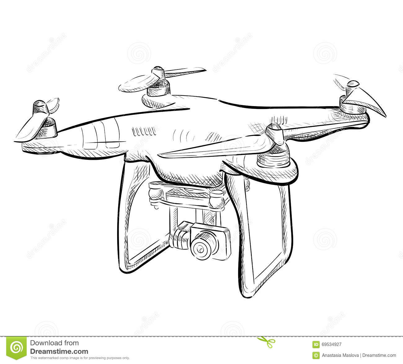Hand Draw Illustration Aerial Vehicle Quadrocopter. Air