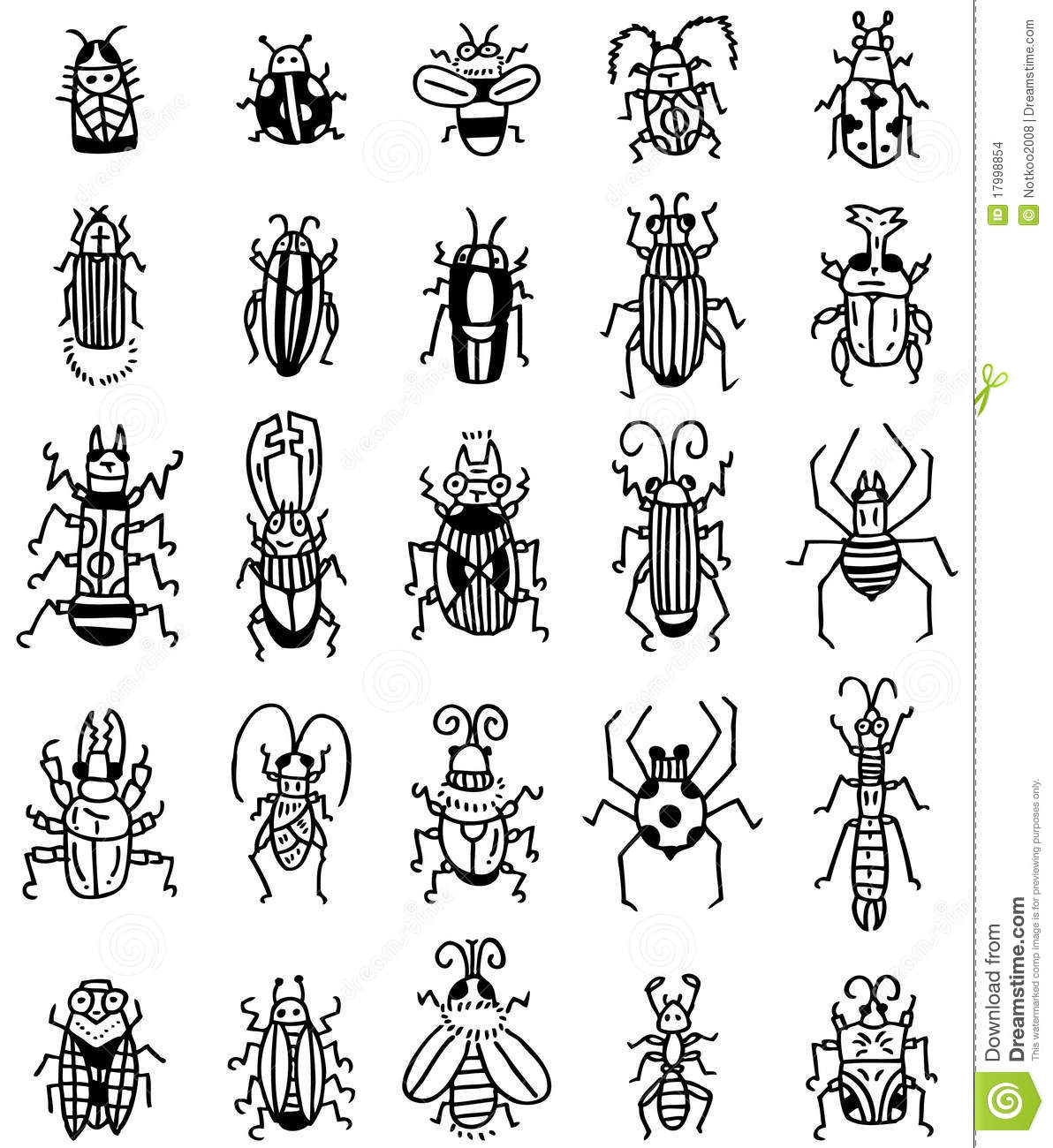 Hand Draw Insect Icon Stock Vector Illustration Of