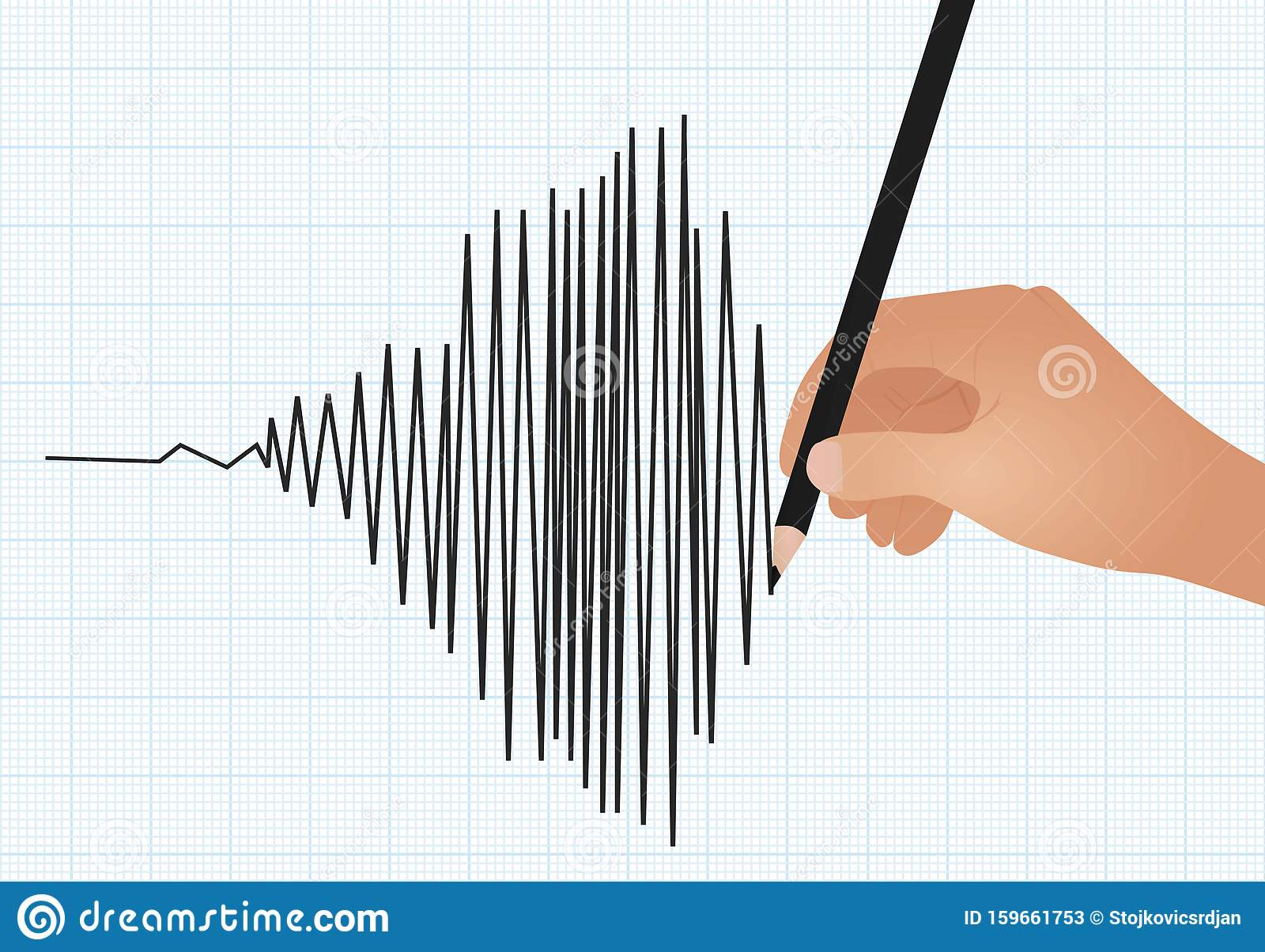 Hand Draw Line Graph Stock Vector Illustration Of