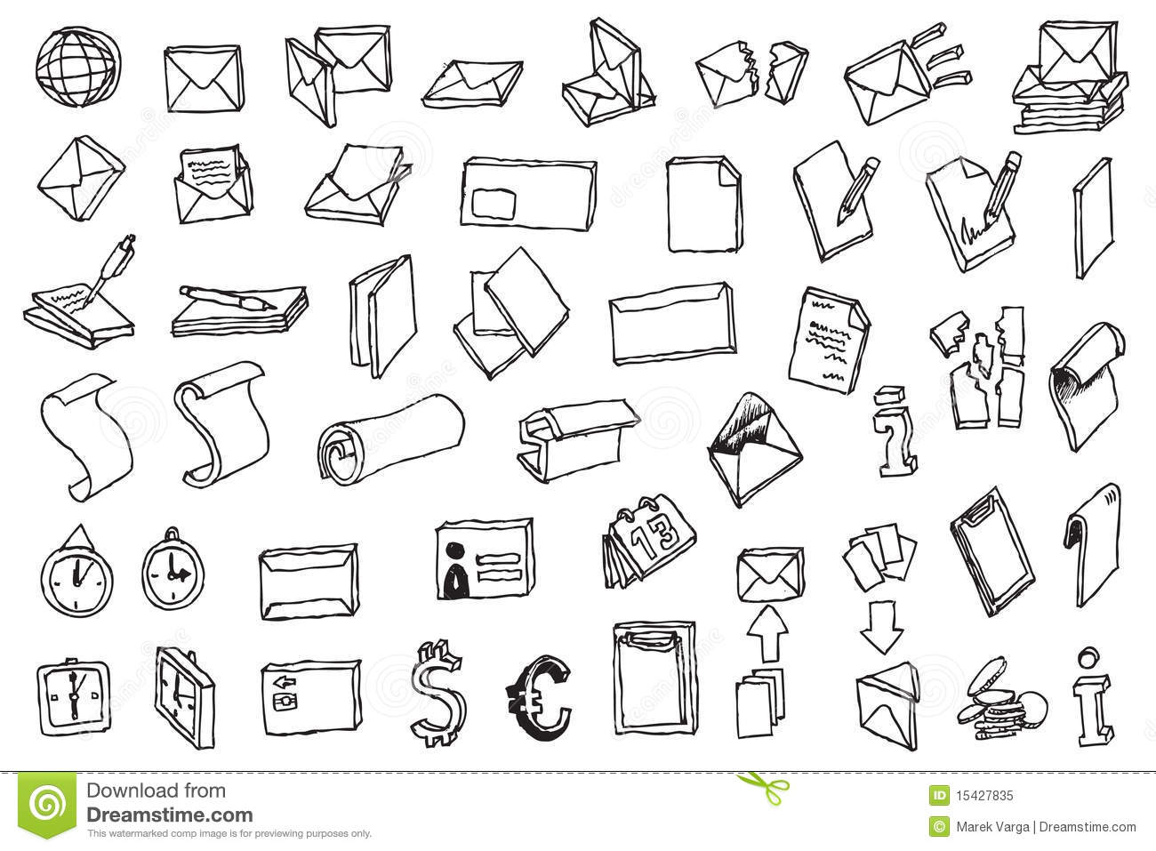 Hand Draw Office And Post Communication Icon Vecto Cartoon