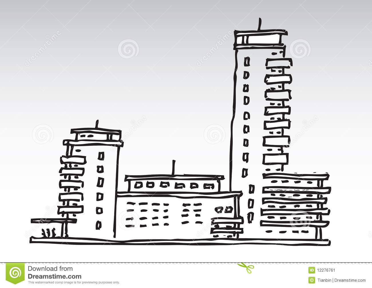 Hand Draw Residential Buildings Stock Image